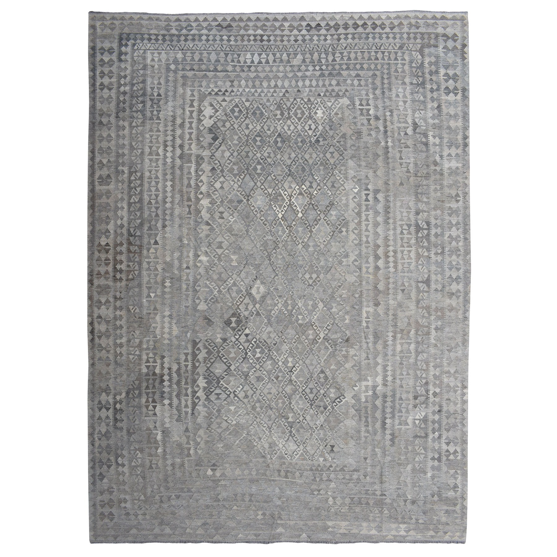 "12'x16'4"" Oversized Undyed Natural Wool Afghan Kilim Reversible Hand Woven Rug"