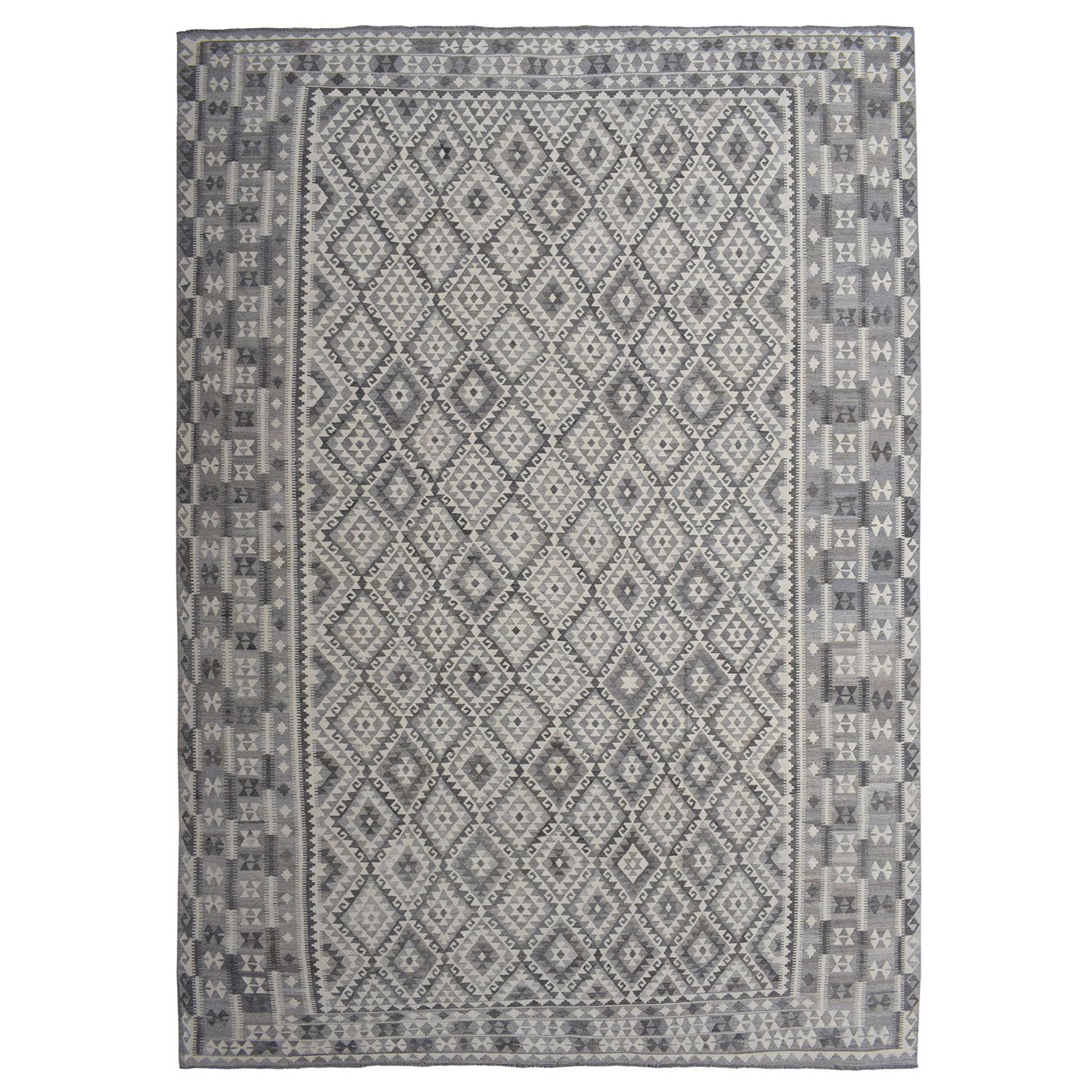 "11'7""x16'4"" Oversized Undyed Natural Wool Afghan Kilim Reversible Hand Woven Reversible Rug"
