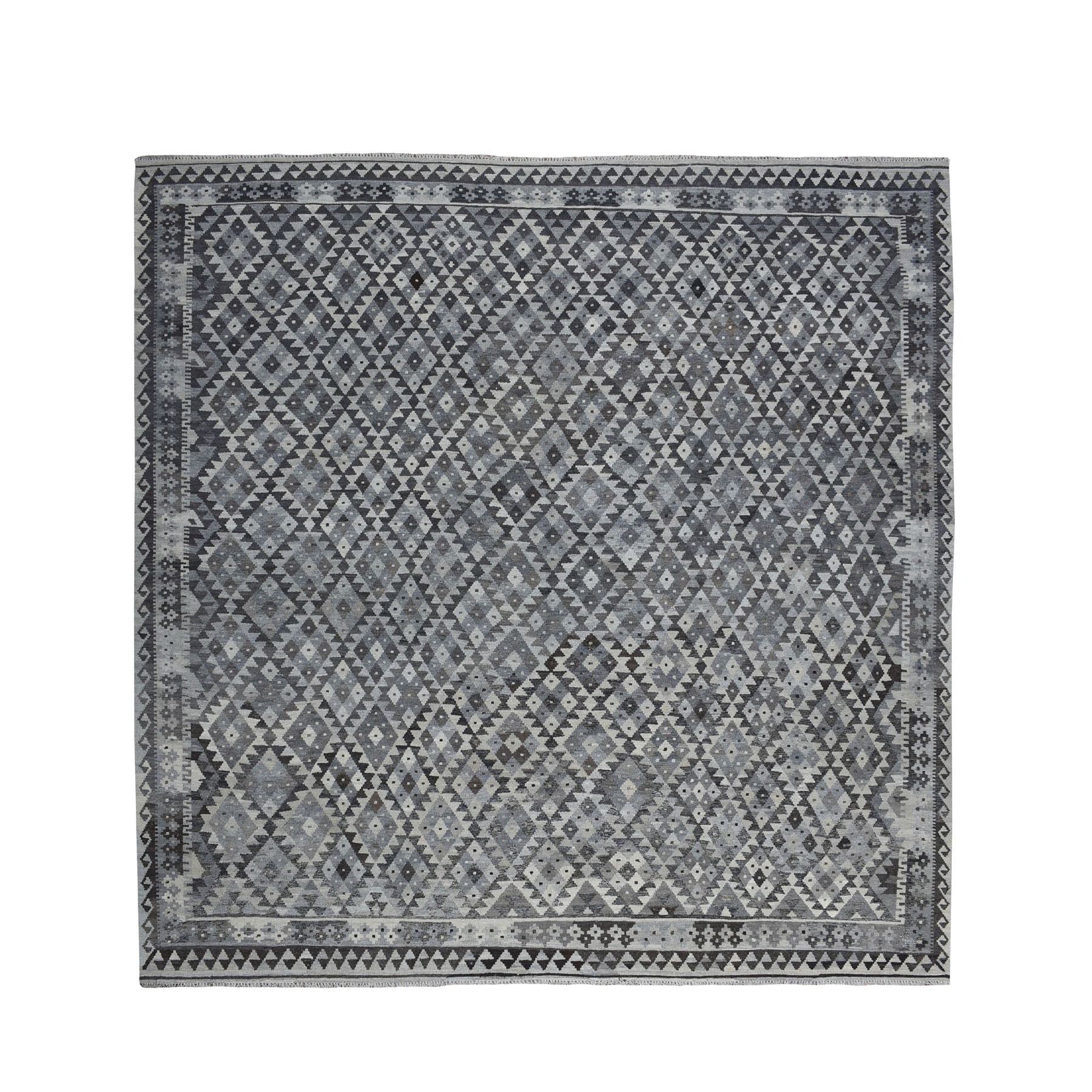 """10'2""""x10'2"""" Square Undyed Natural Wool Afghan Kilim Reversible Hand Woven Oriental Rug 53440"""