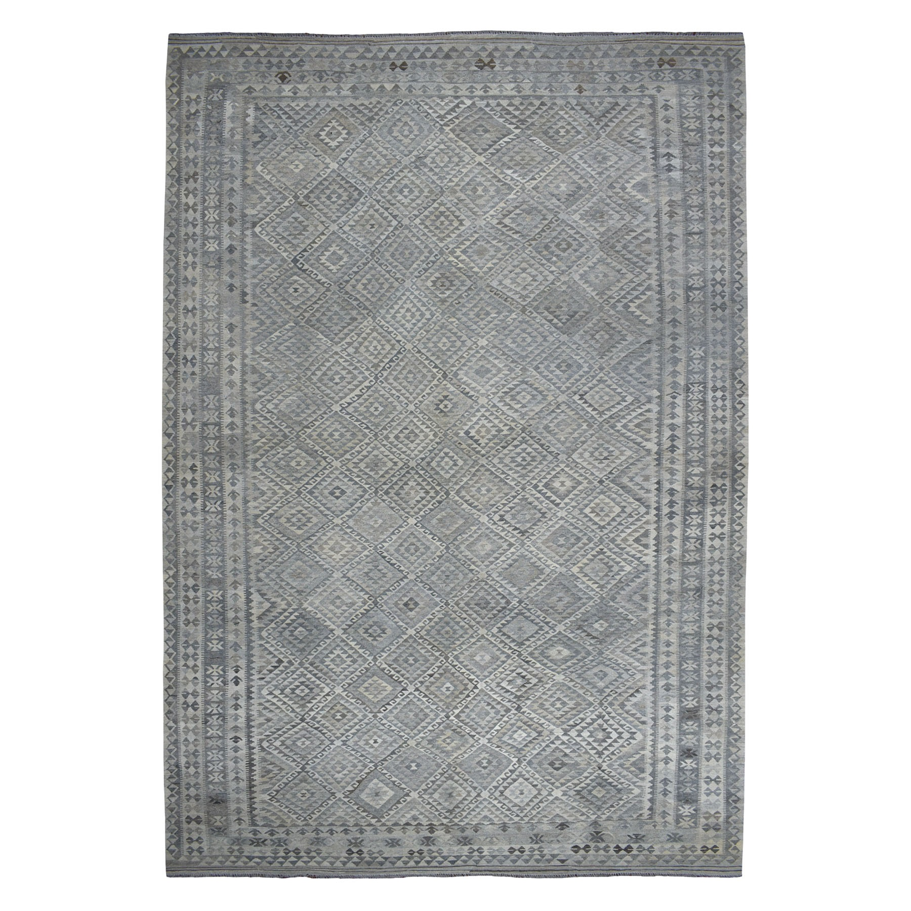 "9'9""x16'4"" Oversized Undyed Natural Wool Afghan Kilim Reversible Hand Woven Rug"