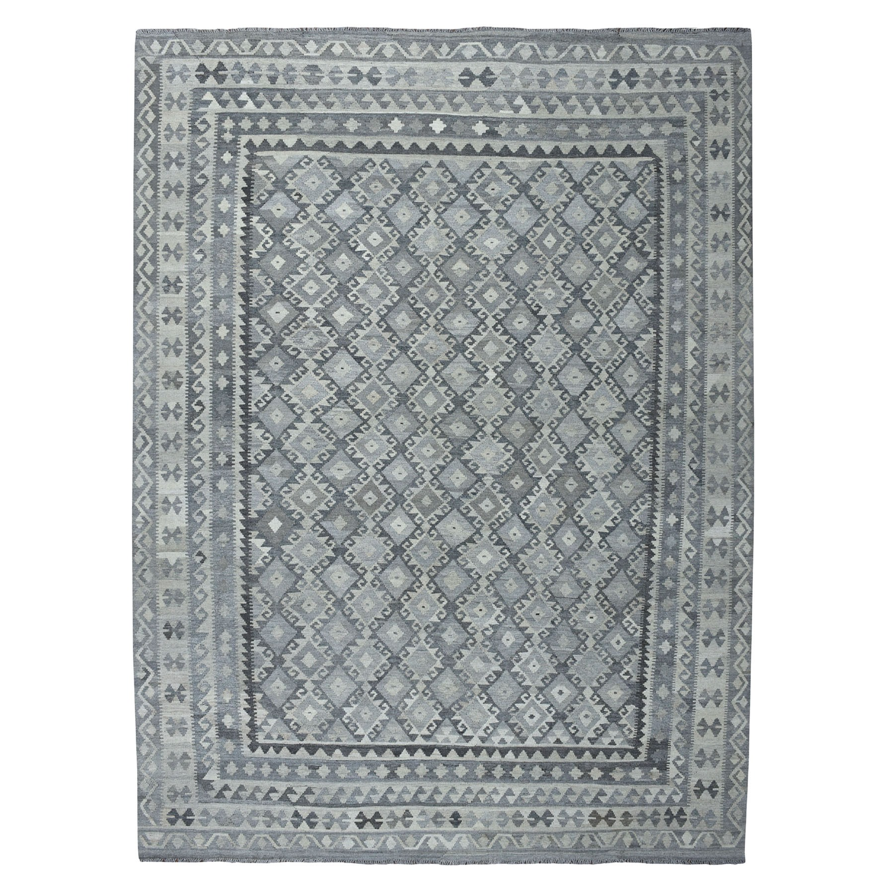"""8'8""""X11'3"""" Undyed Natural Wool Afghan Kilim Reversible Hand Woven Oriental Rug moaecdde"""