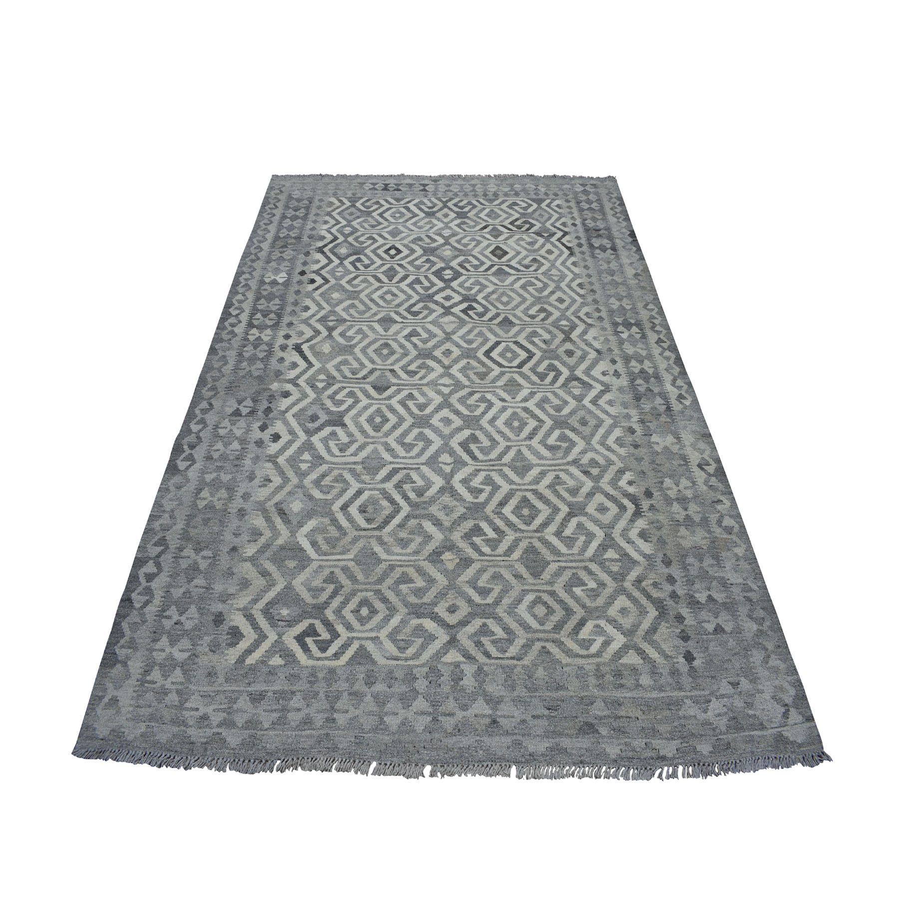"""5'10""""X8' Undyed Natural Wool Afghan Kilim Reversible Hand Woven Oriental Rug moaecde7"""