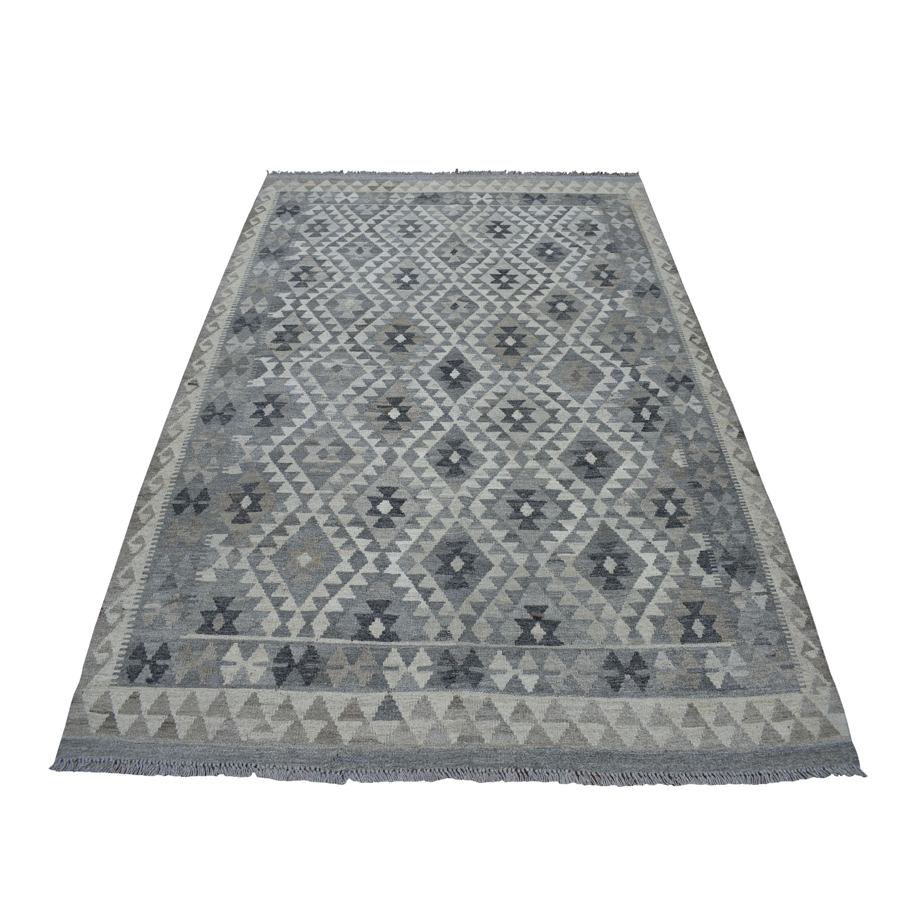 """5'10""""X8' Undyed Natural Wool Afghan Kilim Reversible Hand Woven Oriental Rug moaecde9"""