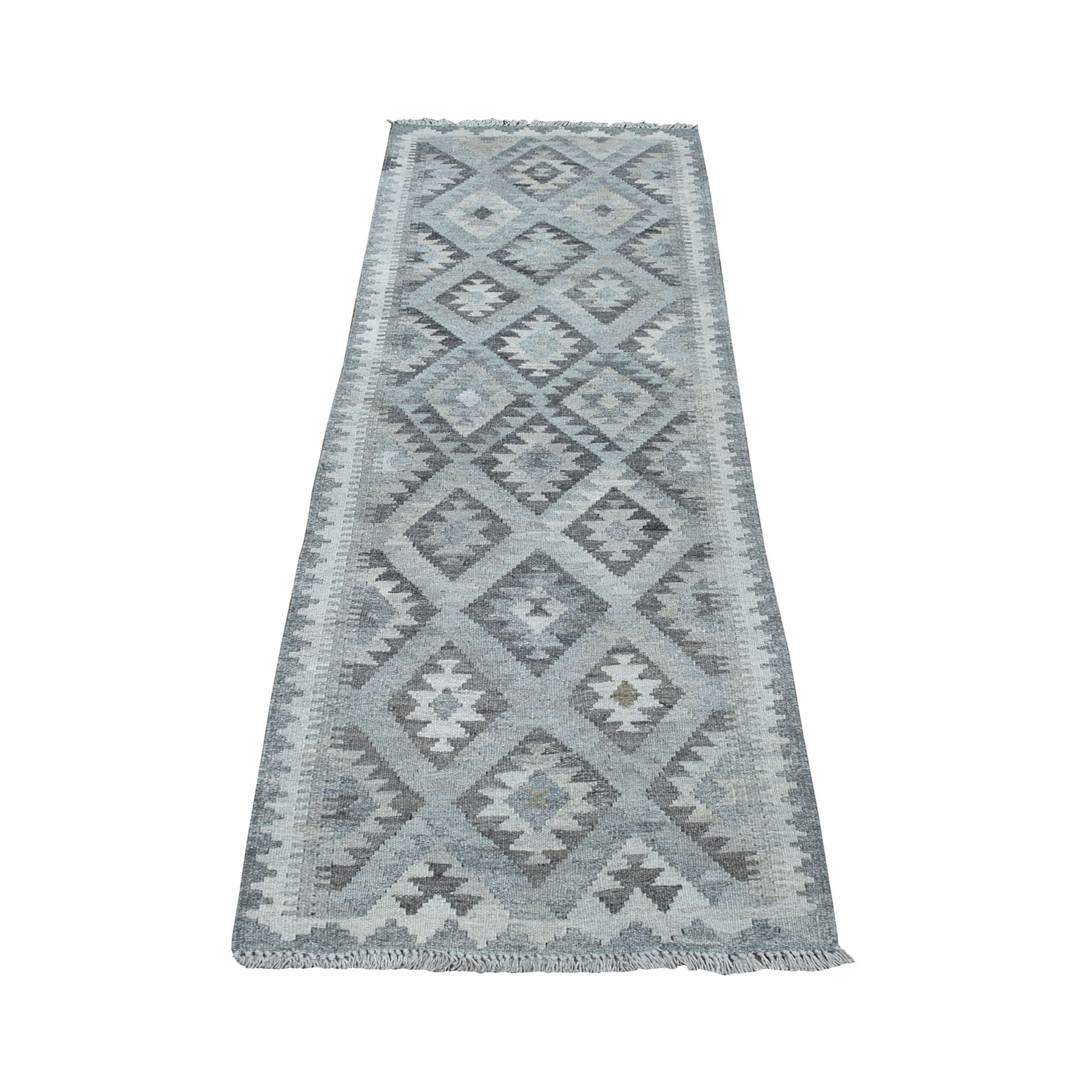 """2'2""""X6'5"""" Undyed Natural Wool Afghan Kilim Reversible Hand Woven Runner Oriental Rug moaecd60"""