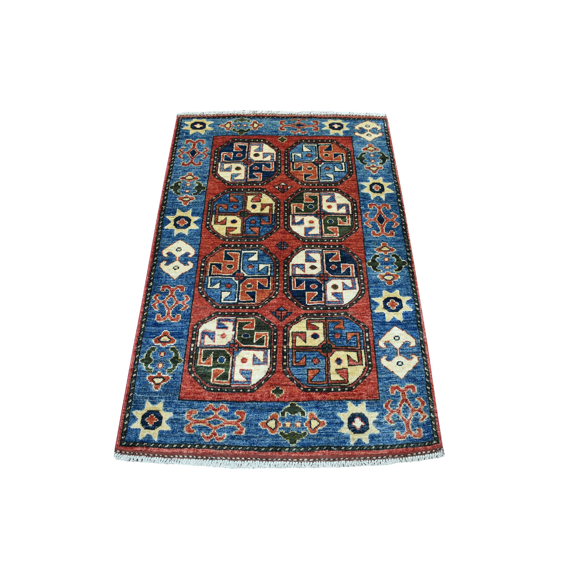 """2'9""""x4'3"""" Red Tekke Design Hand Knotted Afghan Ersari Pure Wool Oriental Rug 53466"""