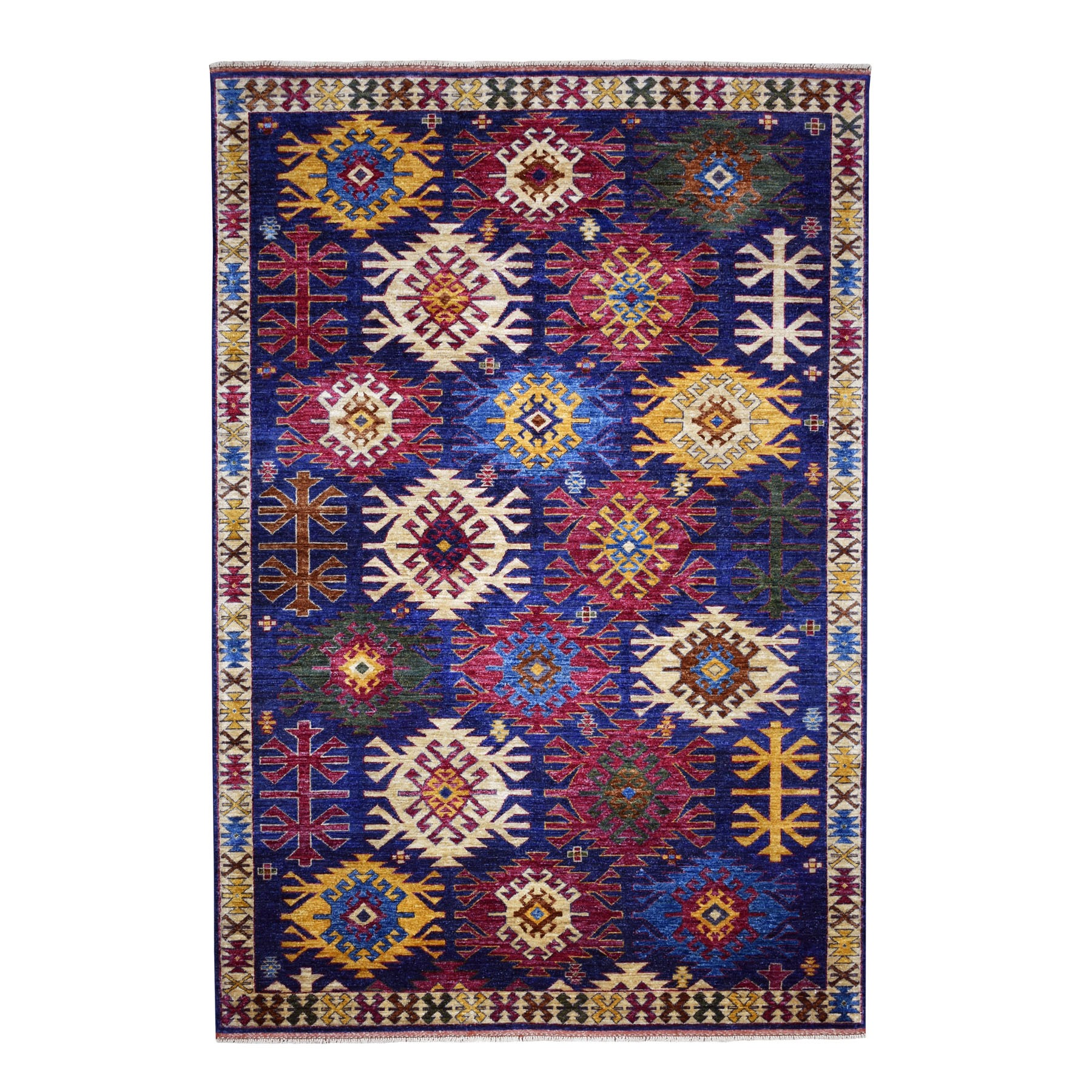 "6'X8'10"" Afghan Ersari With Large Repetitive Colorful Symbols Hand Knotted Oriental Rug moaecd7b"