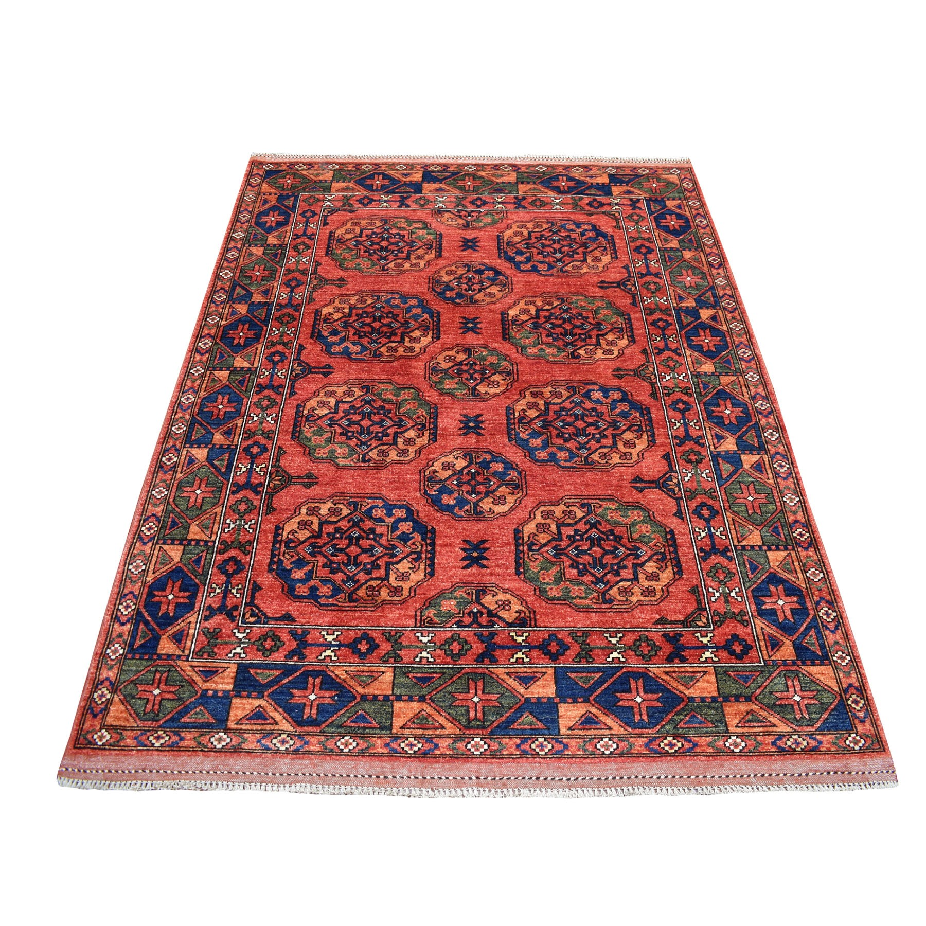 "5'X6'6"" Red Afghan Ersari Elephant Feet Design Hand Knotted Pure Wool Oriental Rug moaecd76"