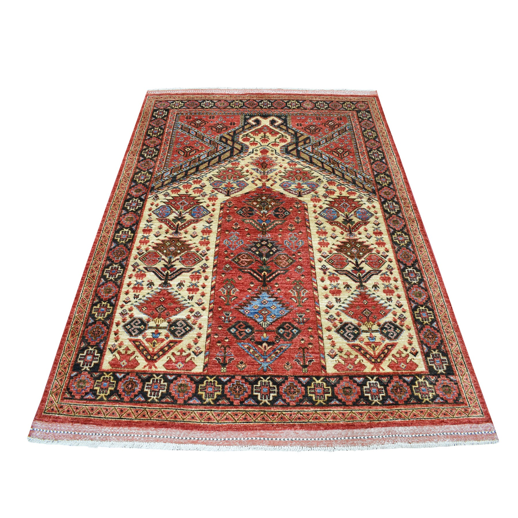 "5'X6'9"" Red Prayer Design Afghan Ersari Hand Knotted Pure Wool Oriental Rug moaecd77"