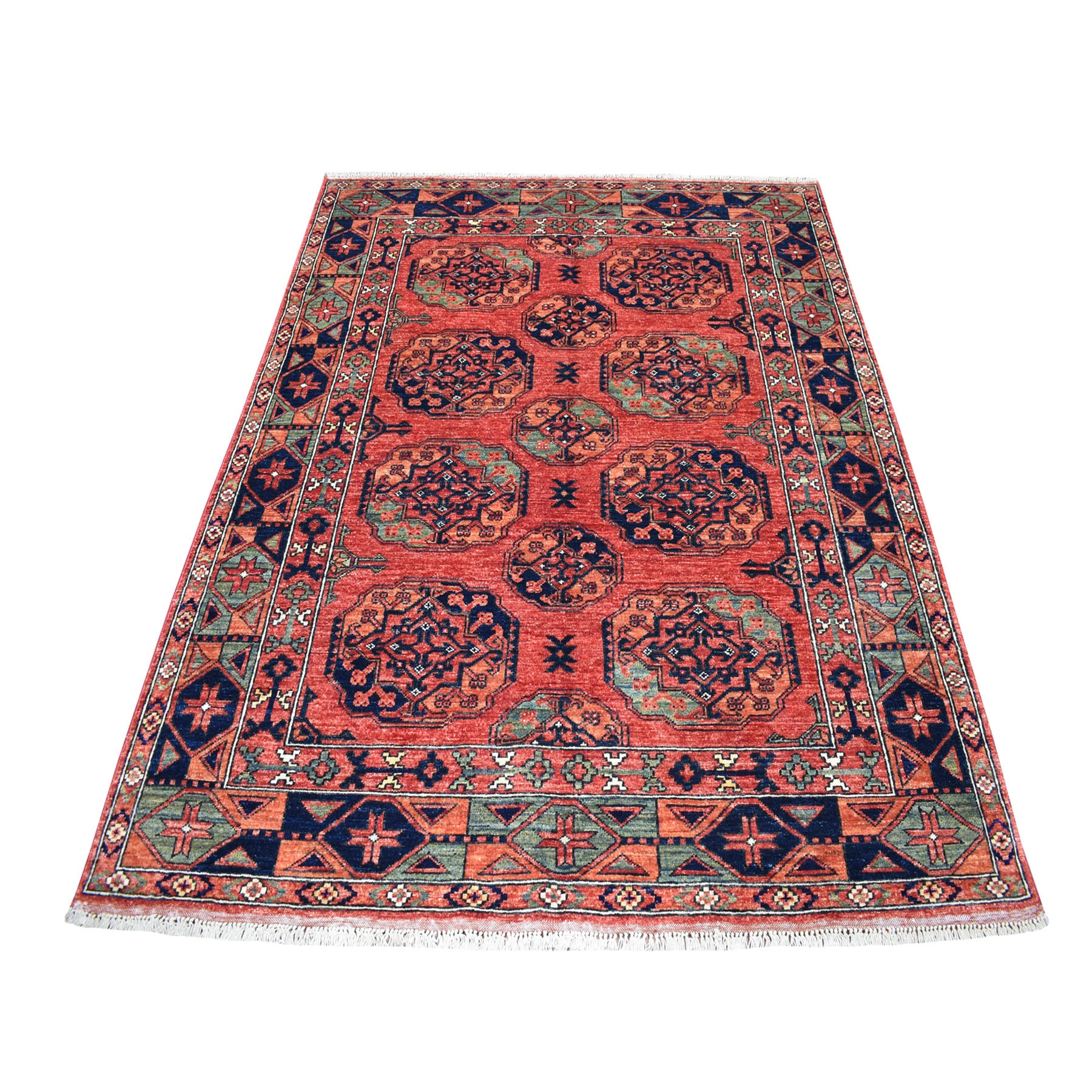 "5'X6'6"" Red Afghan Ersari Elephant Feet Design Hand Knotted Pure Wool Oriental Rug moaecd78"
