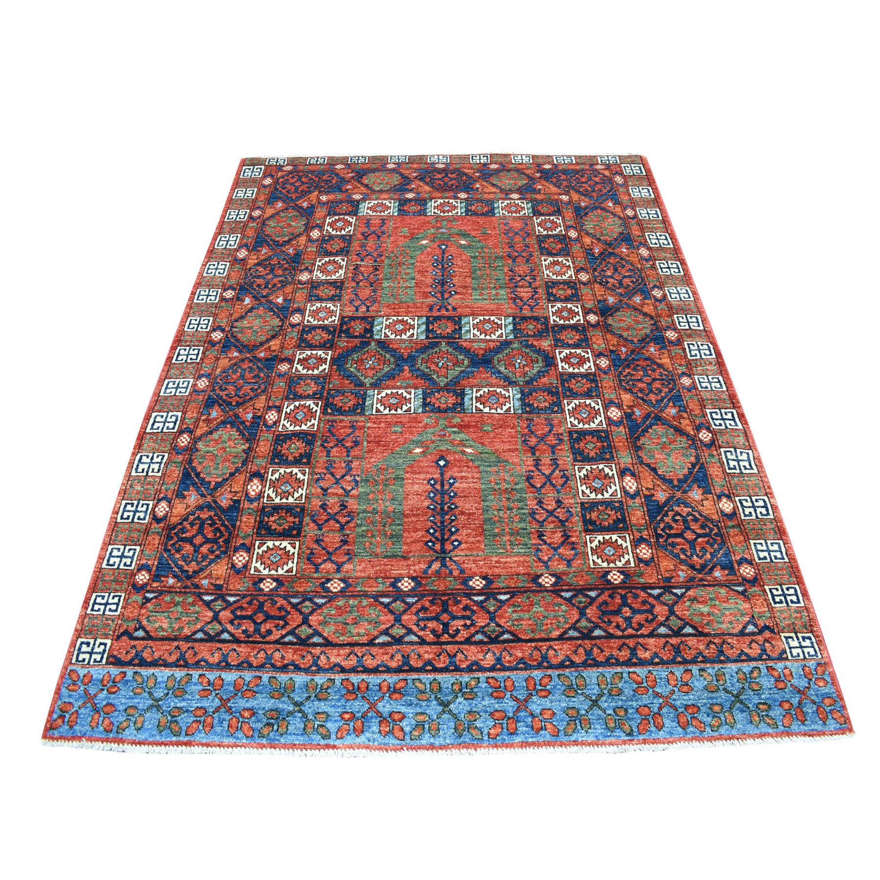 "4'10""X7' Red Afghan Ersari Hutchlu Design Pure Wool Hand Knotted Oriental Rug moaecd79"