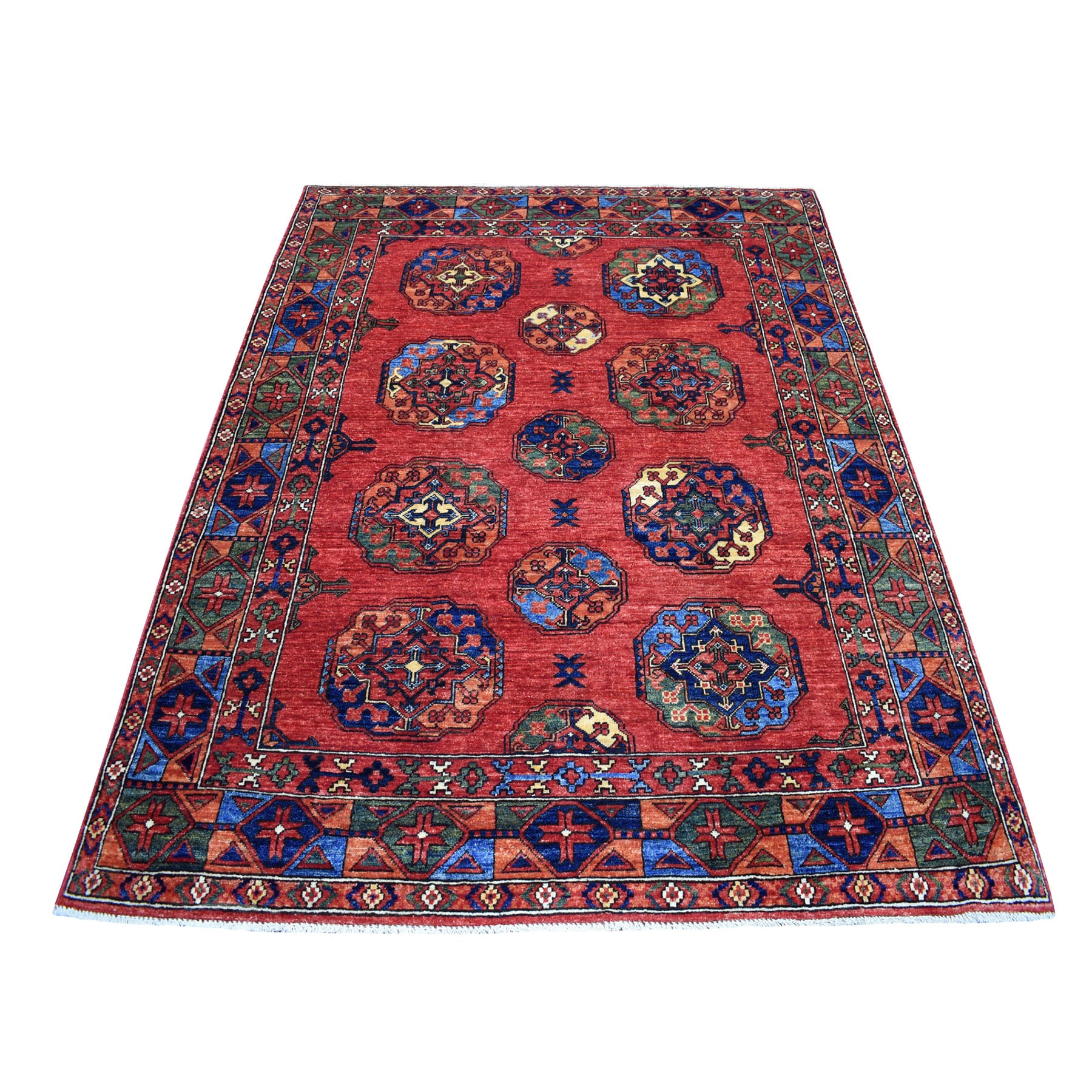 "5'X6'5"" Red Afghan Ersari Elephant Feet Design Hand Knotted Pure Wool Oriental Rug moaecd80"