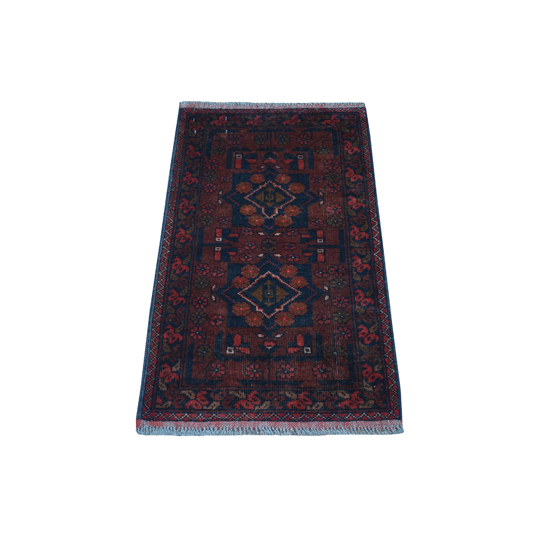 """1'8""""x3'2"""" Deep and Saturated Red Geometric Afghan Andkhoy Pure Wool Hand Knotted Oriental Rug 53487"""