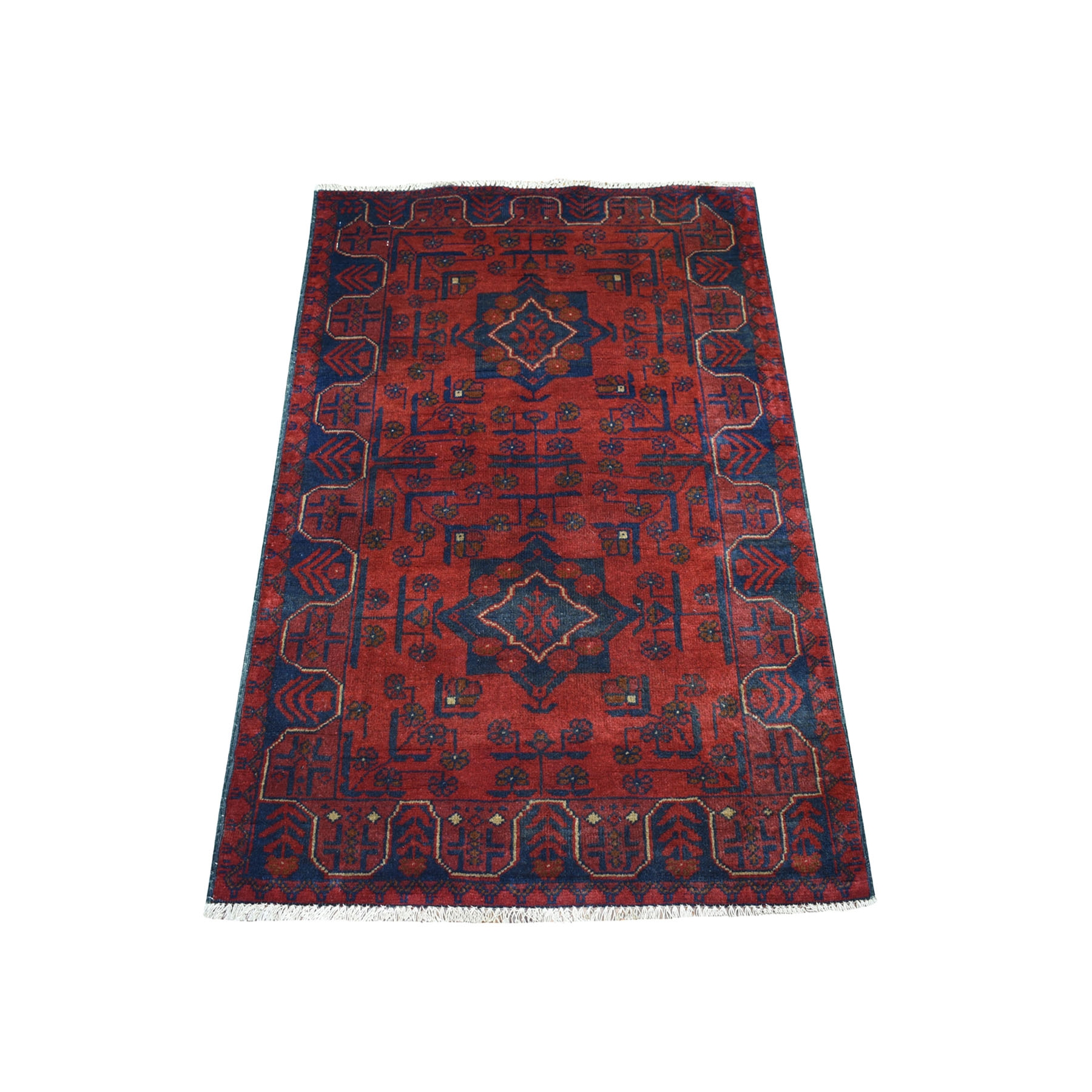 """2'8""""x4' Deep and Saturated Red Geometric Afghan Andkhoy Pure Wool Hand Knotted Oriental Rug 53491"""
