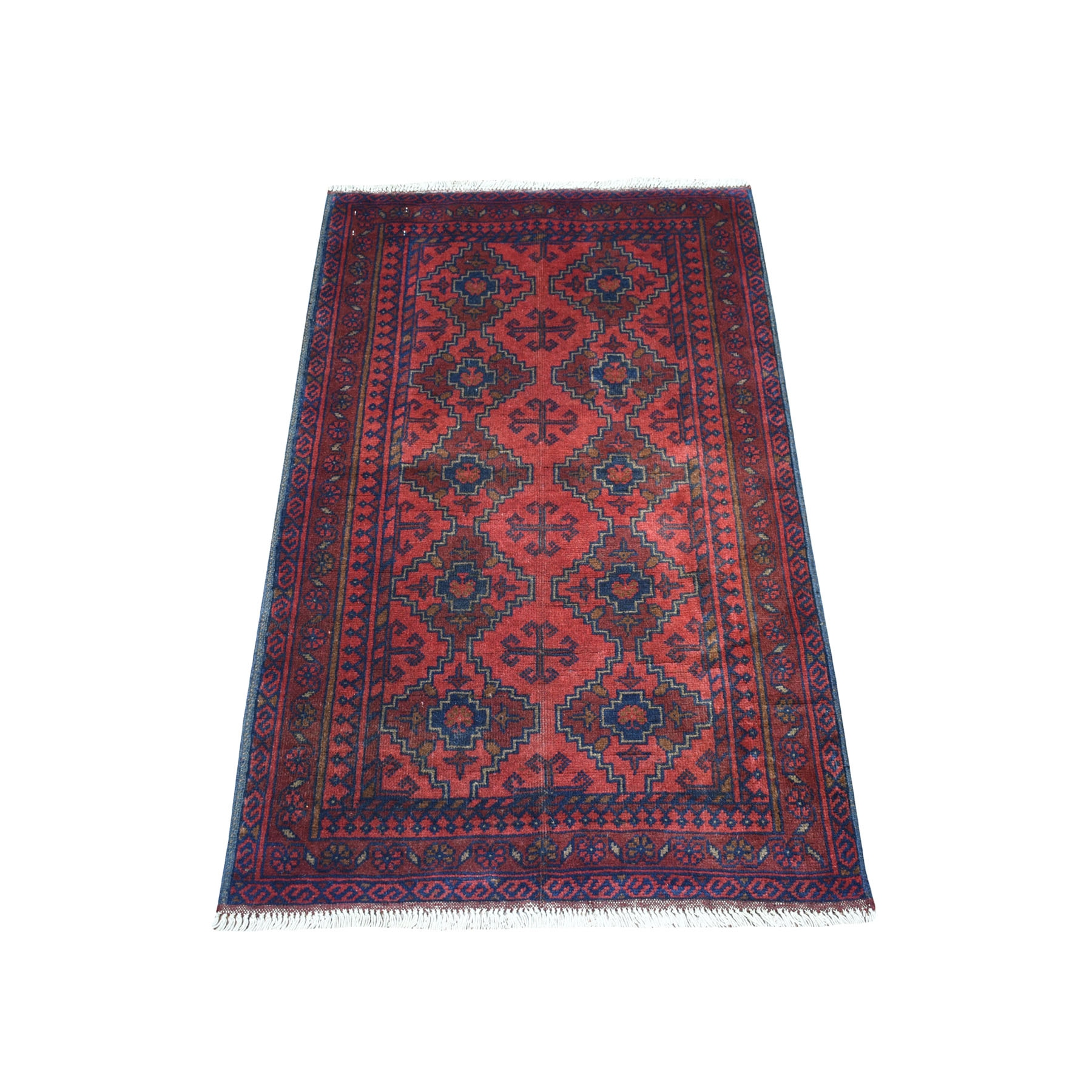 "2'6""X4' Deep And Saturated Red Geometric Afghan Andkhoy Pure Wool Hand Knotted Oriental Rug moaecd9c"