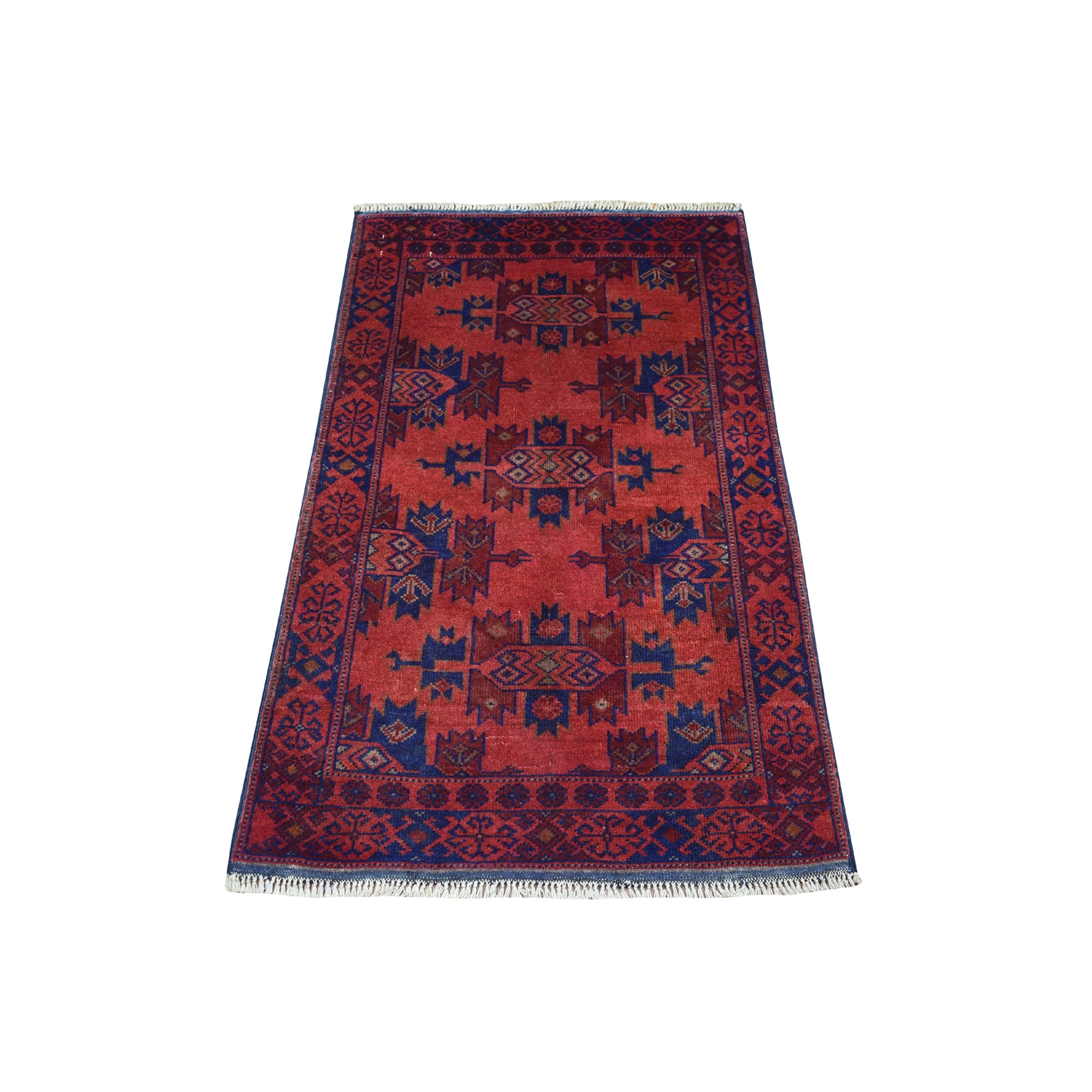 "2'5""X4' Deep And Saturated Red Tribal Afghan Andkhoy Pure Wool Hand Knotted Oriental Rug moaecd96"