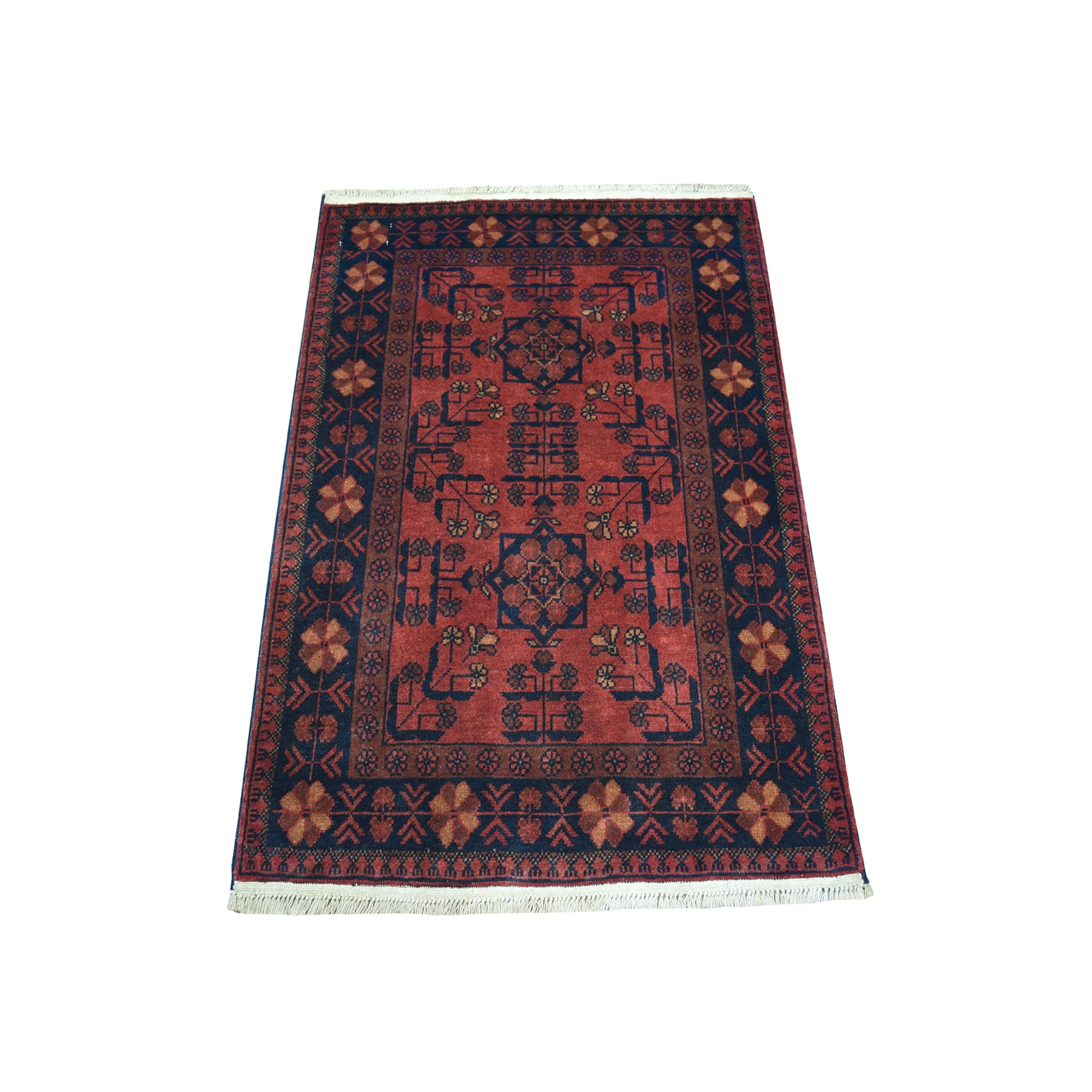 "2'9""X4'1"" Deep And Saturated Red Tribal Afghan Andkhoy Pure Wool Hand Knotted Oriental Rug moaecd98"