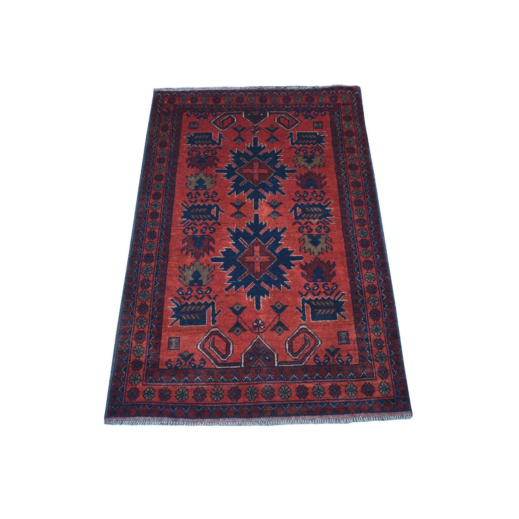 "2'6""X4' Deep And Saturated Red Tribal Afghan Andkhoy Pure Wool Hand Knotted Oriental Rug moaecd99"