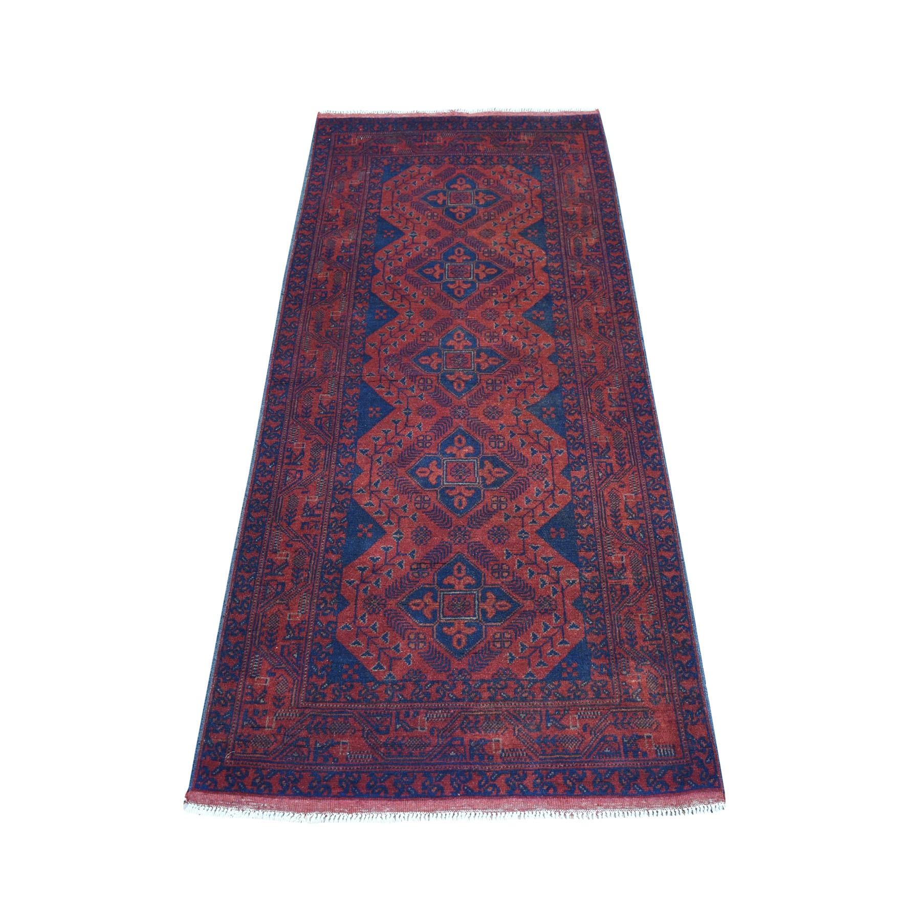 "2'9""X6'3"" Deep And Saturated Red Geometric Afghan Andkhoy Pure Wool Runner Hand Knotted Oriental Rug moaece00"