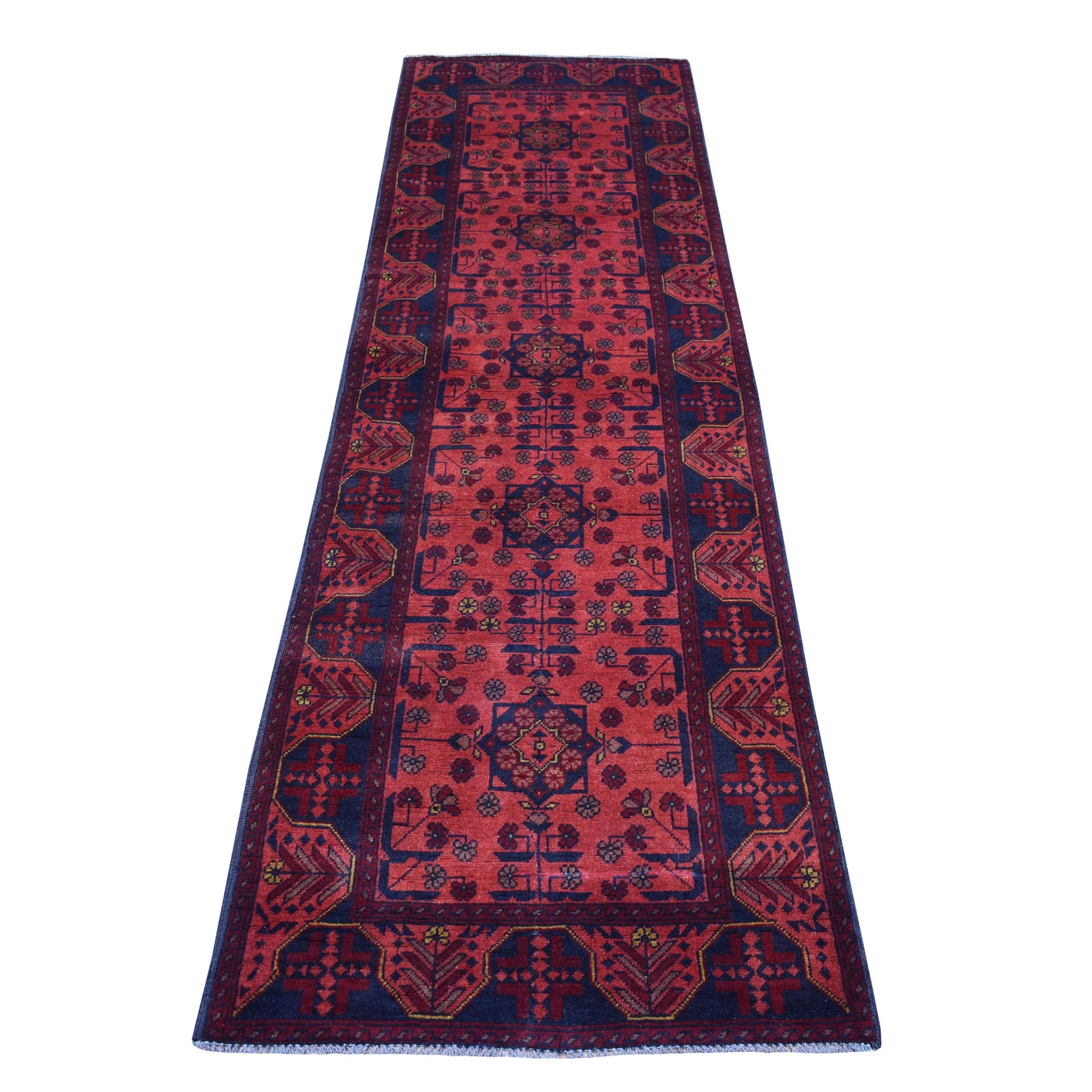 """2'8""""X9'3"""" Deep And Saturated Red Geometric Afghan Andkhoy Runner Pure Wool Hand Knotted Oriental Rug moaece0a"""