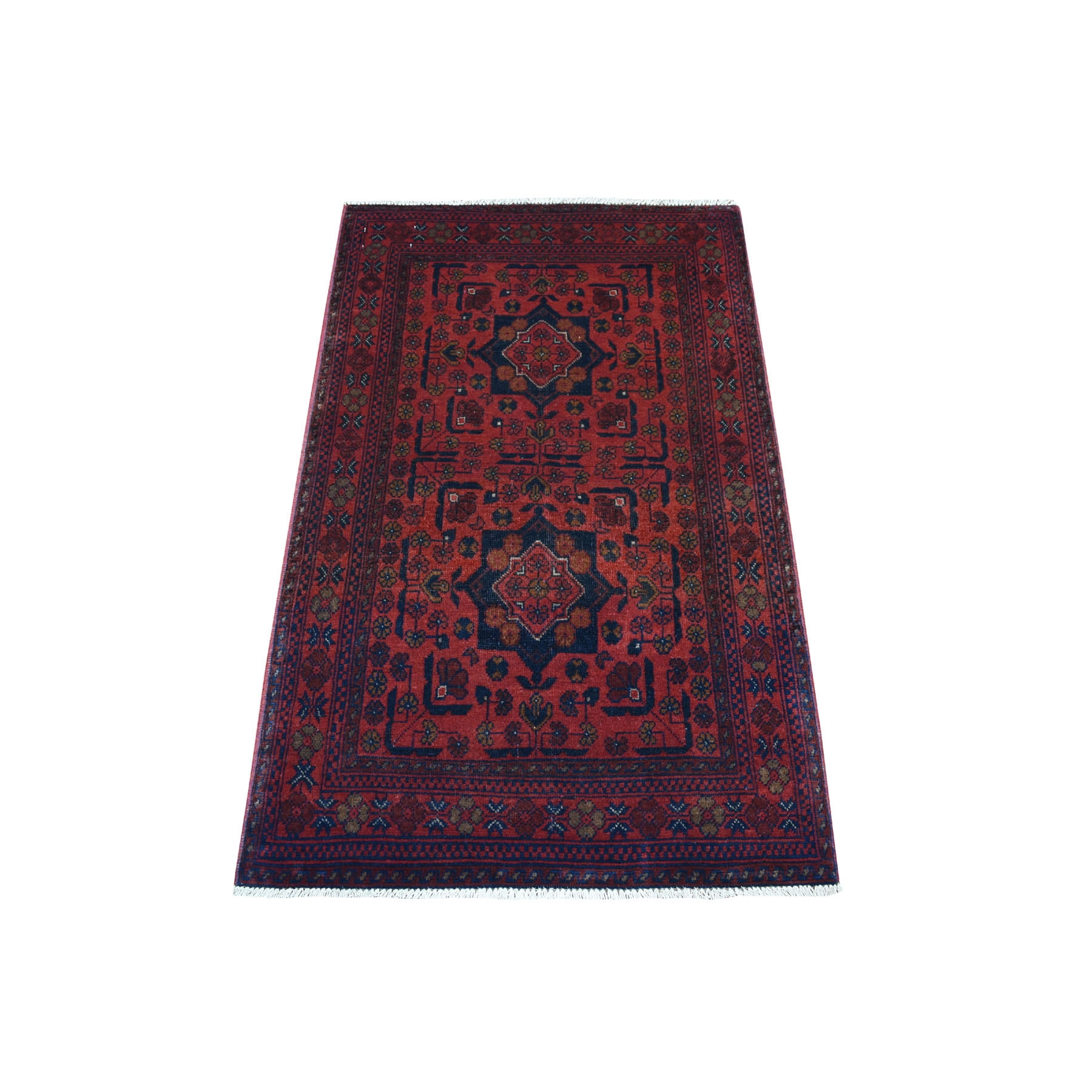 "2'6""X4'1"" Deep And Saturated Red Geometric Afghan Andkhoy Pure Wool Hand Knotted Oriental Rug moaece0b"