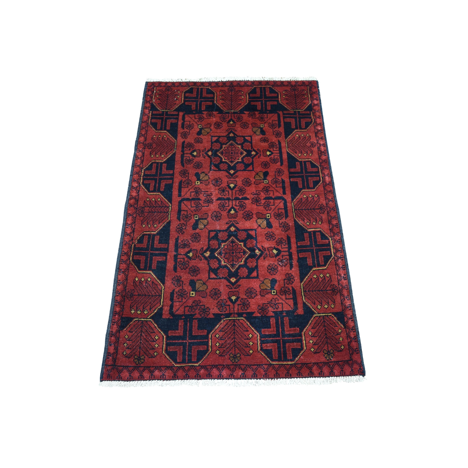 """2'4""""X4' Deep And Saturated Red Geometric Afghan Andkhoy Pure Wool Hand Knotted Oriental Rug moaece0d"""