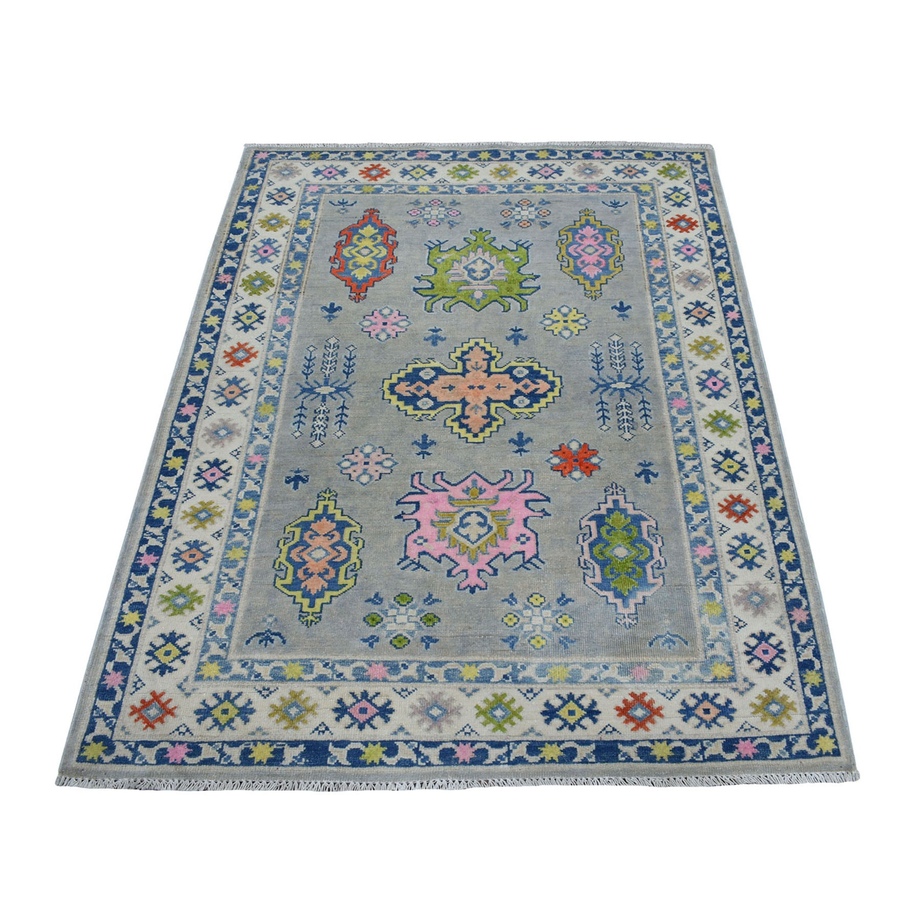 """3'10""""X5'5"""" Colorful Gray Fusion Kazak Pure Wool Geometric Design Hand Knotted Oriental Rug moaeceae"""