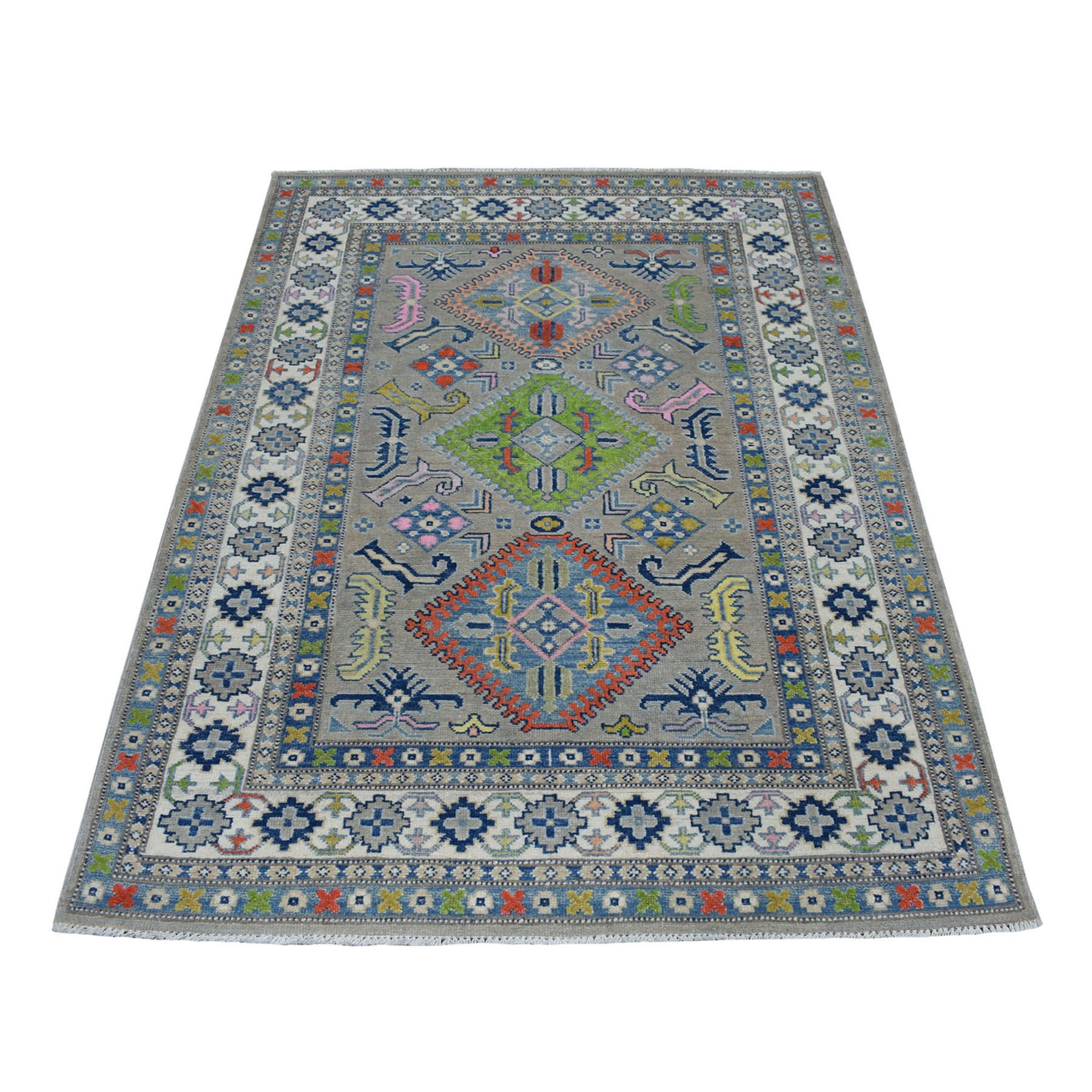 4'X6' Colorful Gray Fusion Kazak Pure Wool Geometric Design Hand Knotted Oriental Rug moaecea6