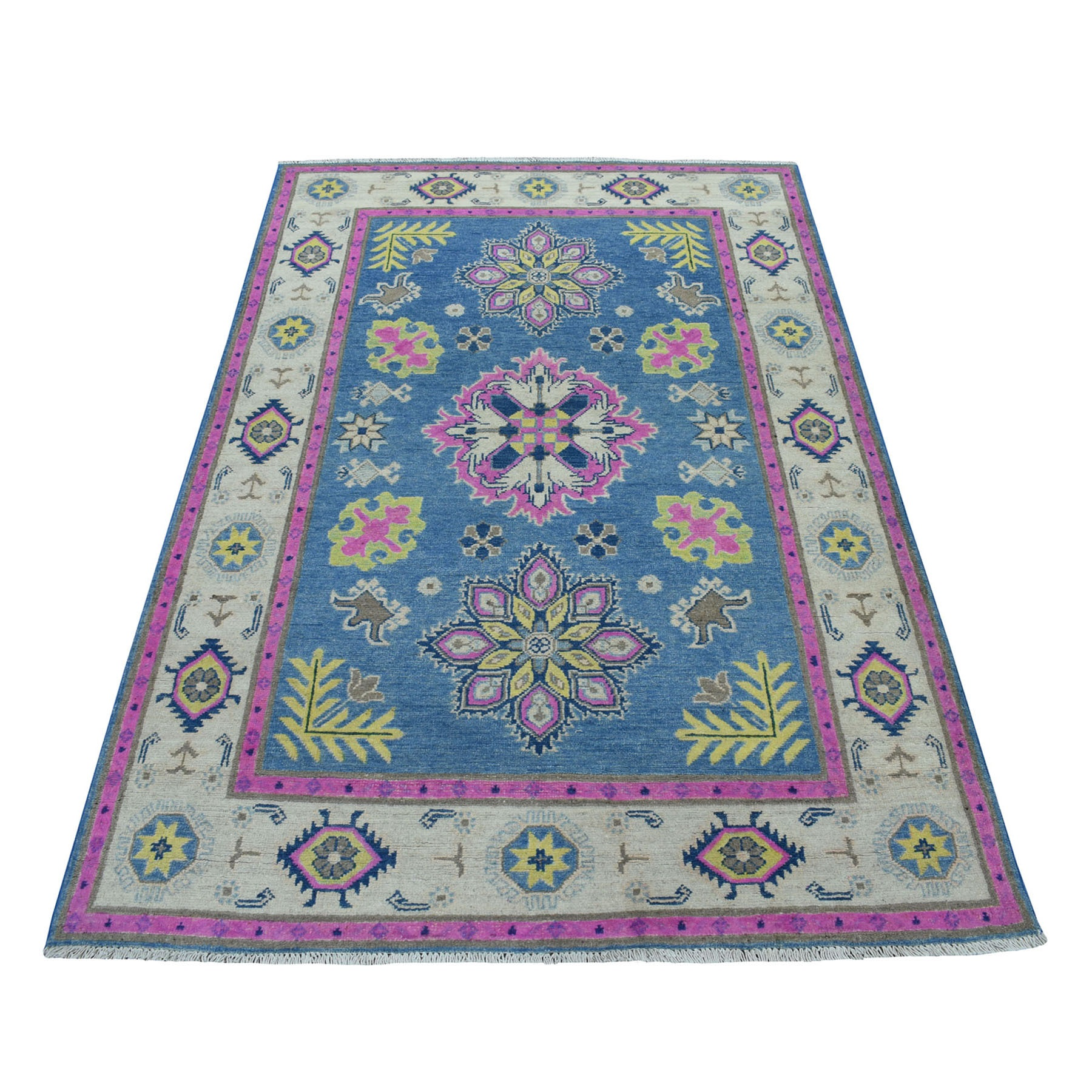 "4'X6'4"" Colorful Blue Fusion Kazak Pure Wool Hand Knotted Oriental Rug moaecea7"