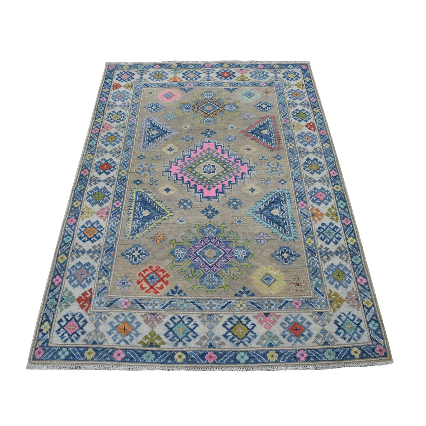 "3'9""X5'7"" Colorful Gray Fusion Kazak Pure Wool Geometric Design Hand Knotted Oriental Rug moaecea8"