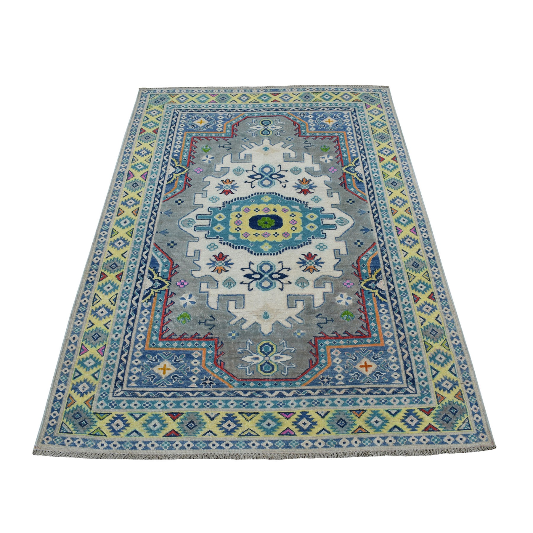 4'x6' Colorful Gray Fusion Kazak Pure Wool Geometric Design Hand Knotted Oriental Rug 53519