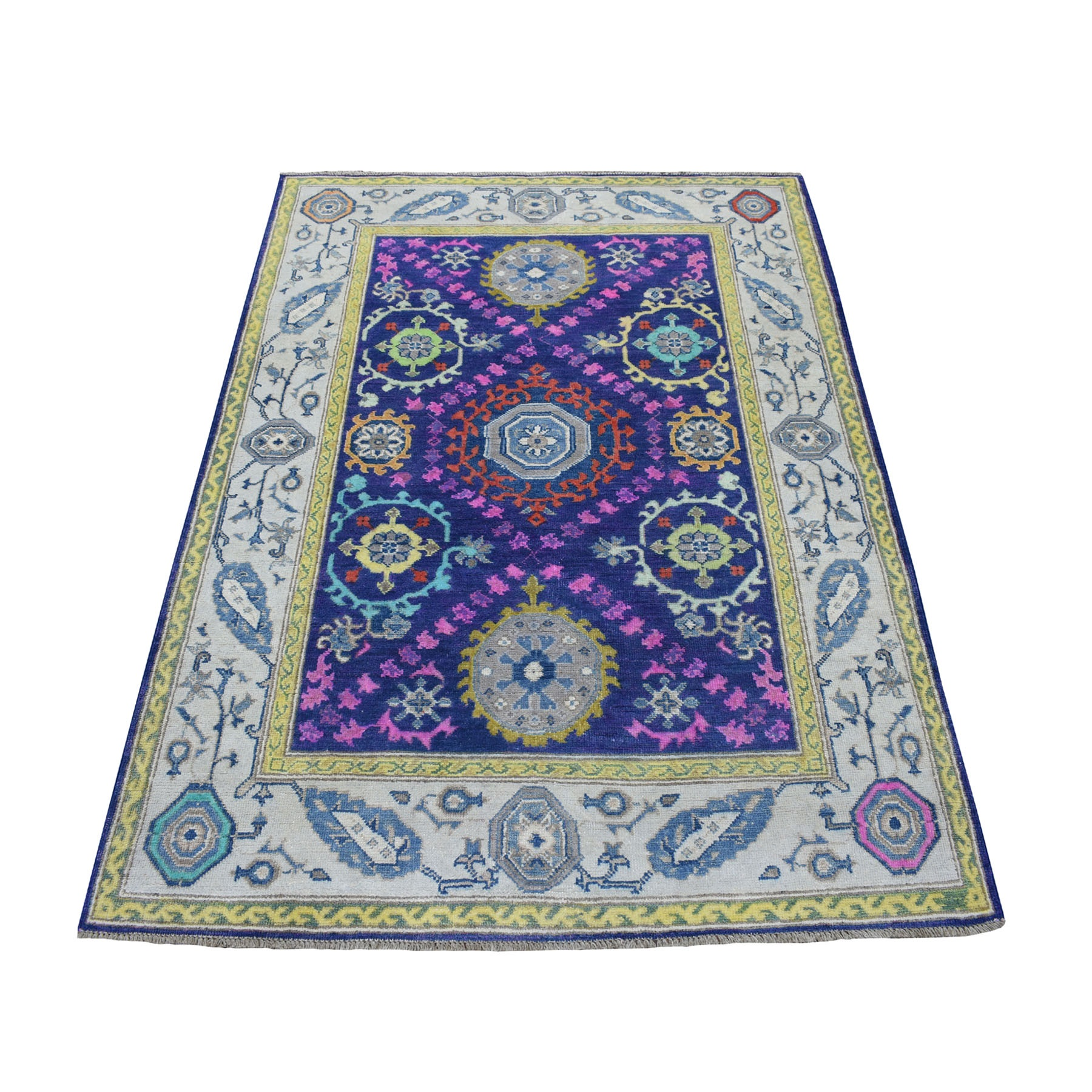 "4'x5'9"" Colorful Purple Fusion Kazak Pure Wool Geometric Design Hand Knotted Oriental Rug 53520"