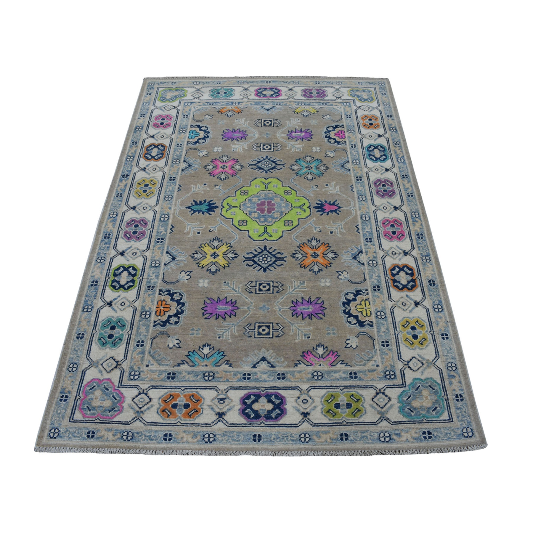 4'X6' Colorful Gray Fusion Kazak Pure Wool Geometric Design Hand Knotted Oriental Rug moaecebb