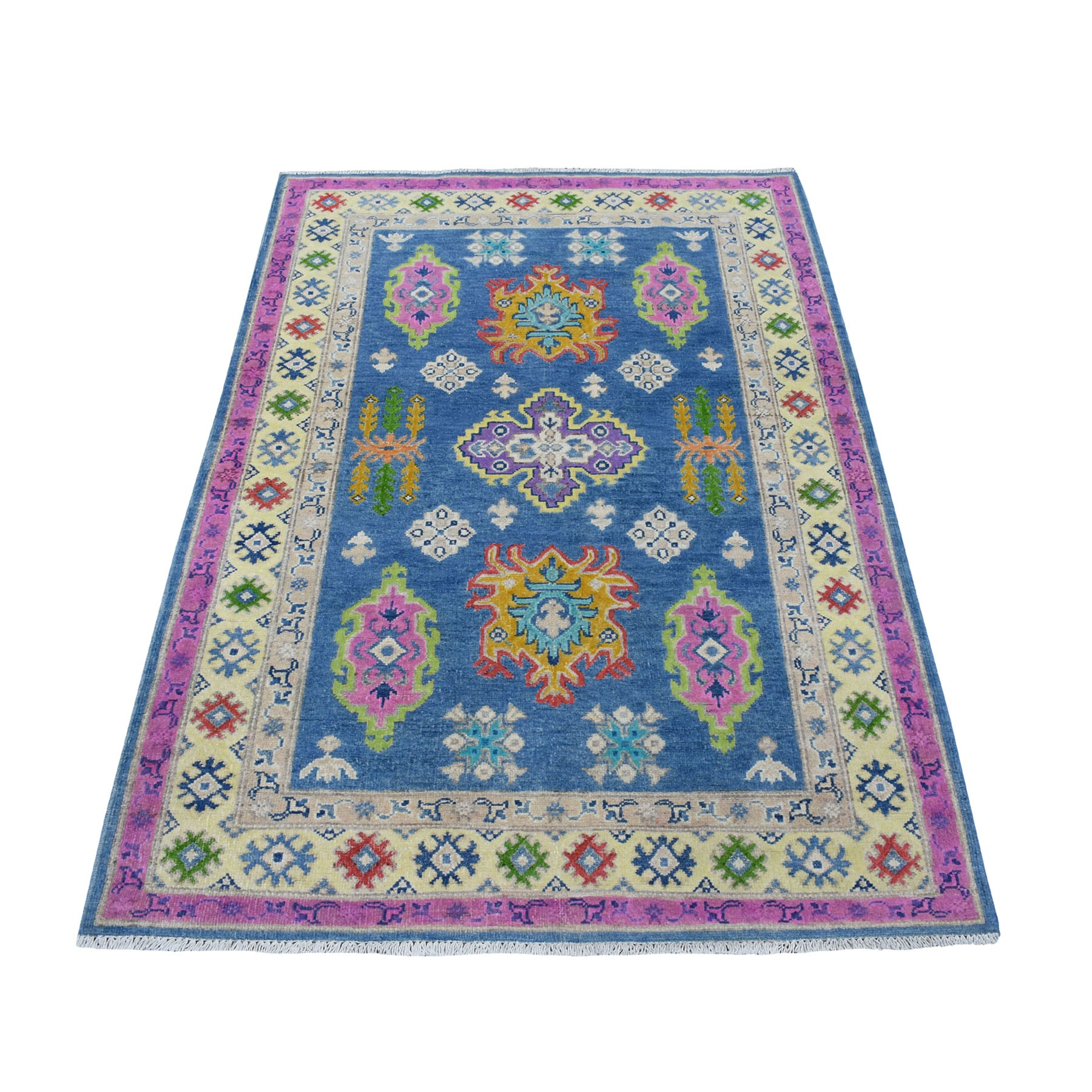 4'X6' Colorful Blue Fusion Kazak Pure Wool Geometric Design Hand Knotted Oriental Rug moaecebc