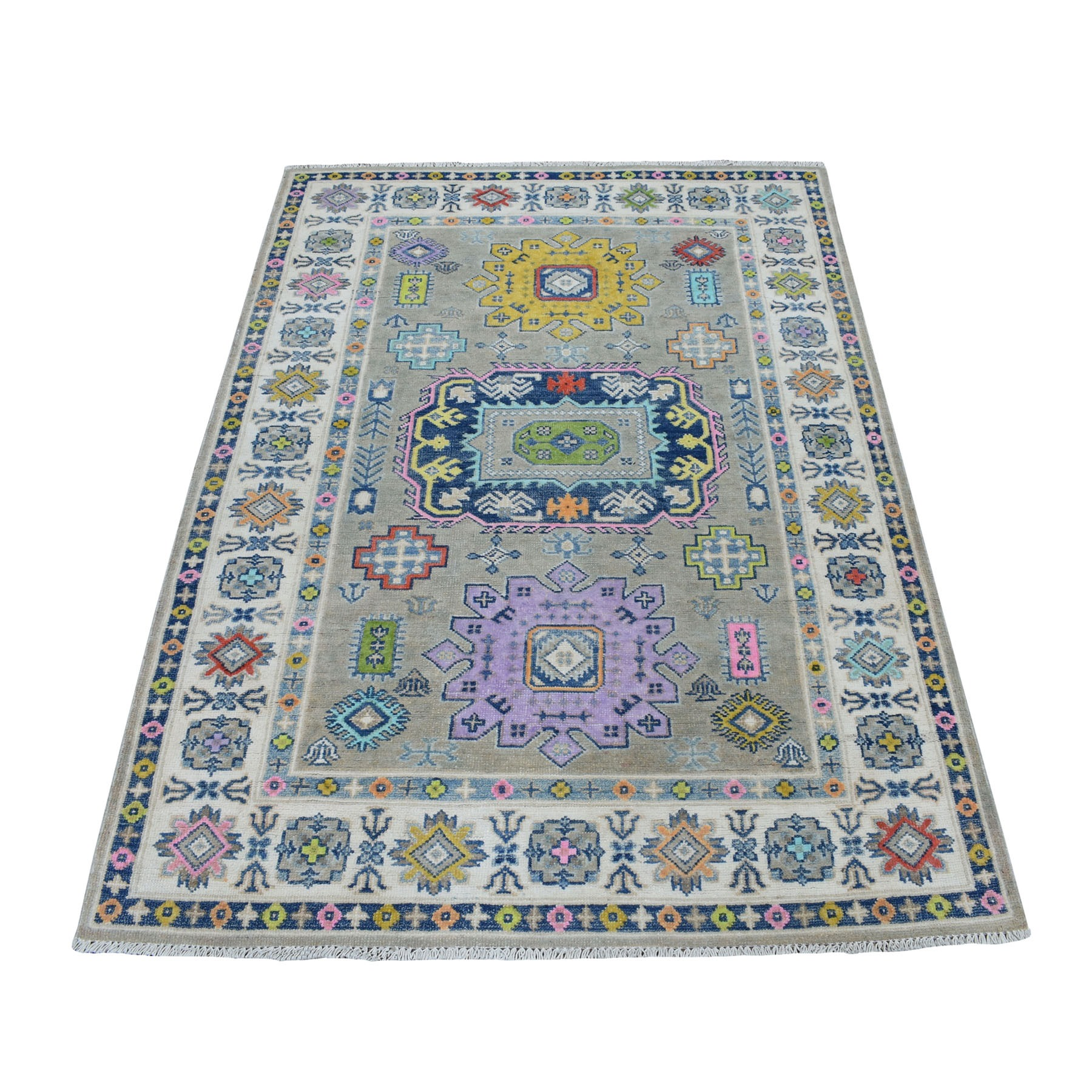 "4'X5'8""  Colorful Gray Fusion Kazak Pure Wool Geometric Design Hand Knotted Oriental Rug moaecebd"