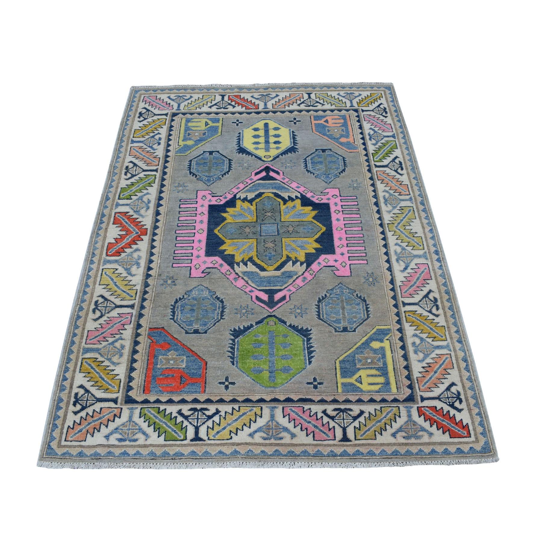 "4'X5'8"" Colorful Gray Fusion Kazak Pure Wool Geometric Design Hand Knotted Oriental Rug moaecebe"