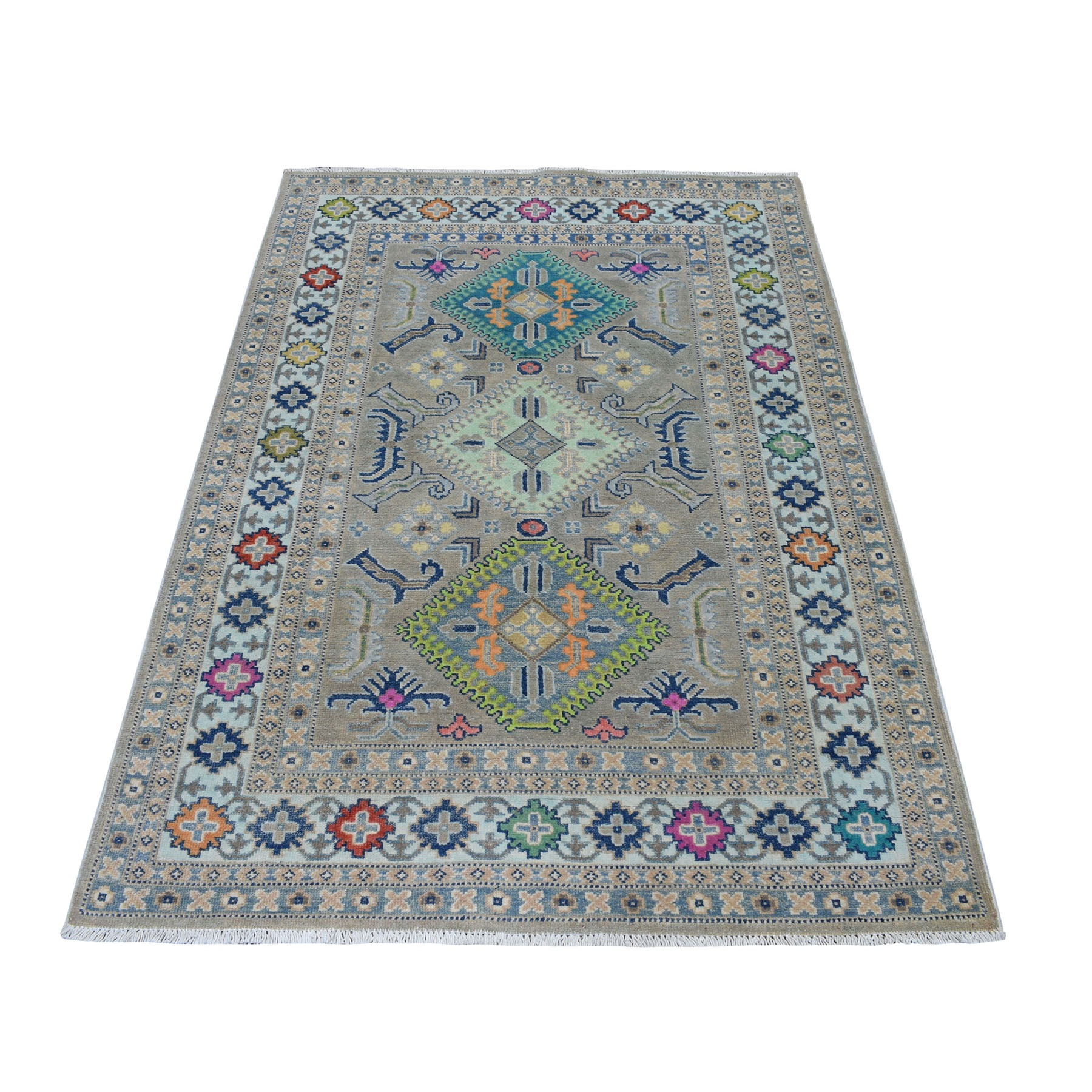 "3'10""X5'10"" Colorful Gray Fusion Kazak Pure Wool Geometric Design Hand Knotted Oriental Rug moaeceb6"