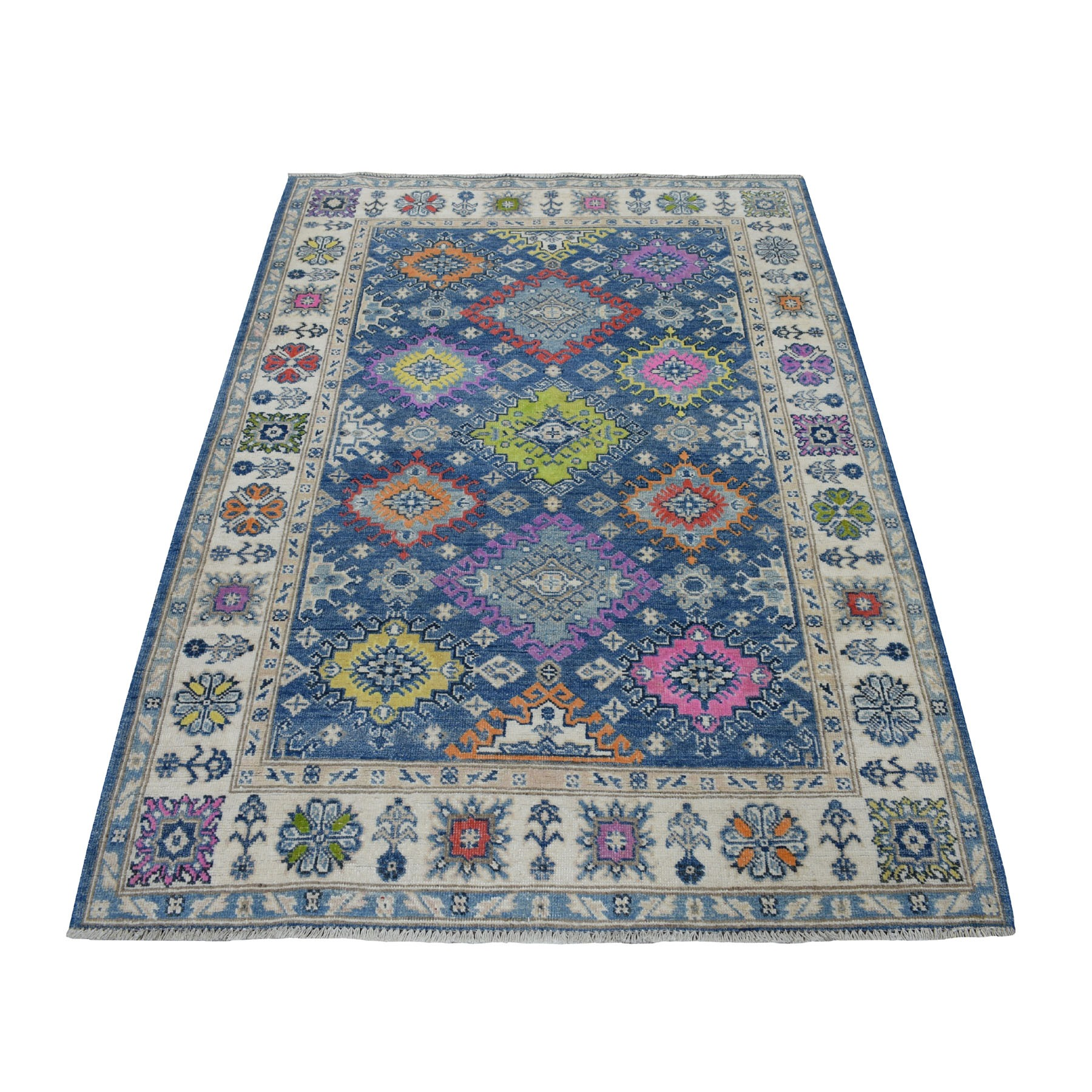 """4'X5'9"""" Colorful Blue Fusion Kazak Pure Wool Hand Knotted Oriental Rug moaeceb7"""