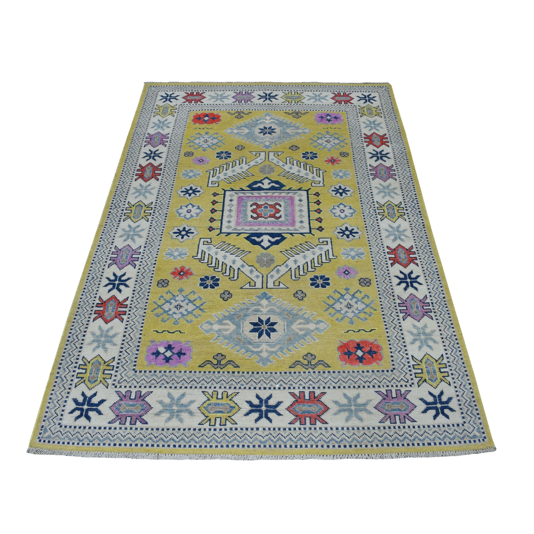 "4'x6'4"" Colorful Yellow Fusion Kazak Pure Wool Hand Knotted Oriental Rug"