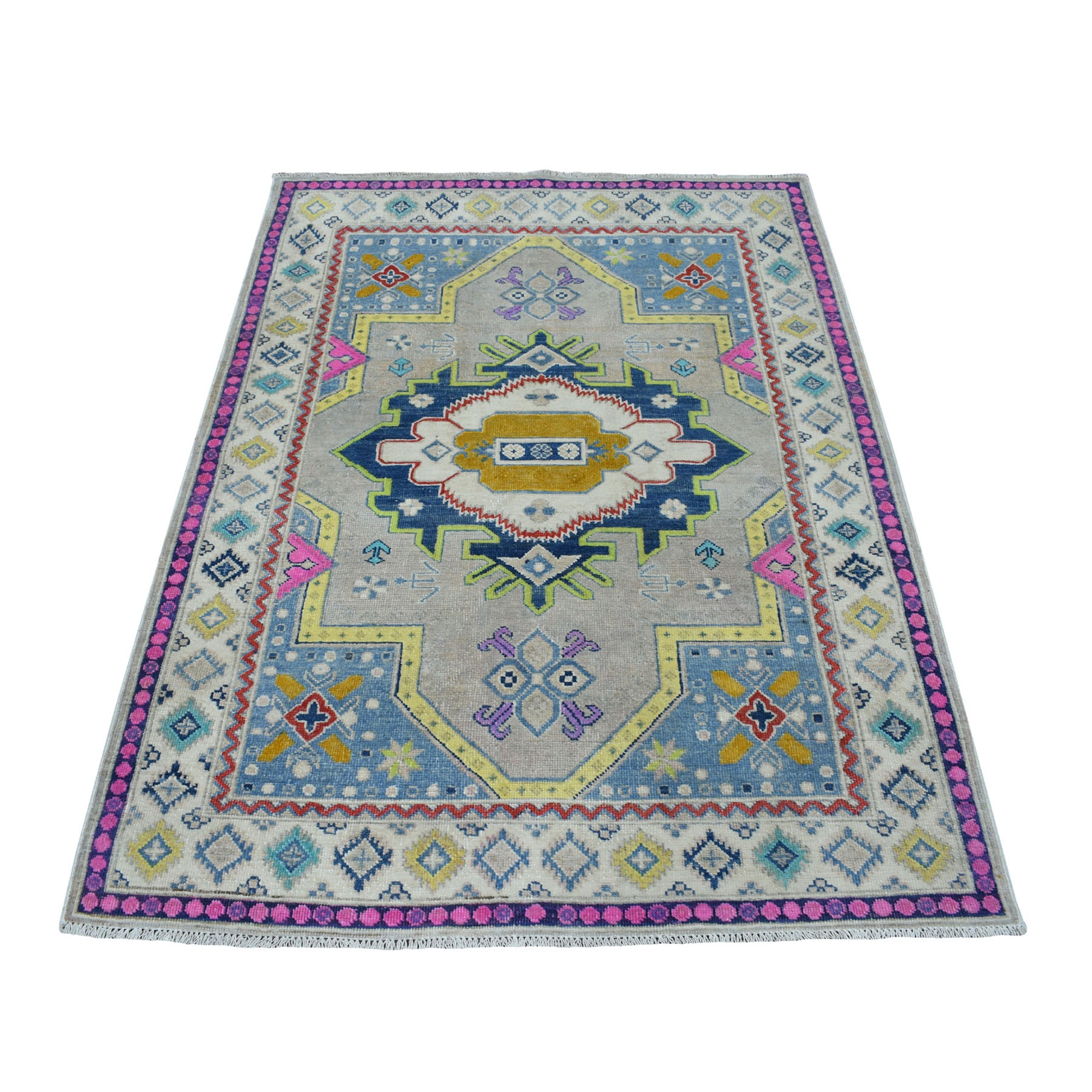 "4'X5'9"" Colorful Gray Fusion Kazak Pure Wool Geometric Design Hand Knotted Oriental Rug moaeceb9"