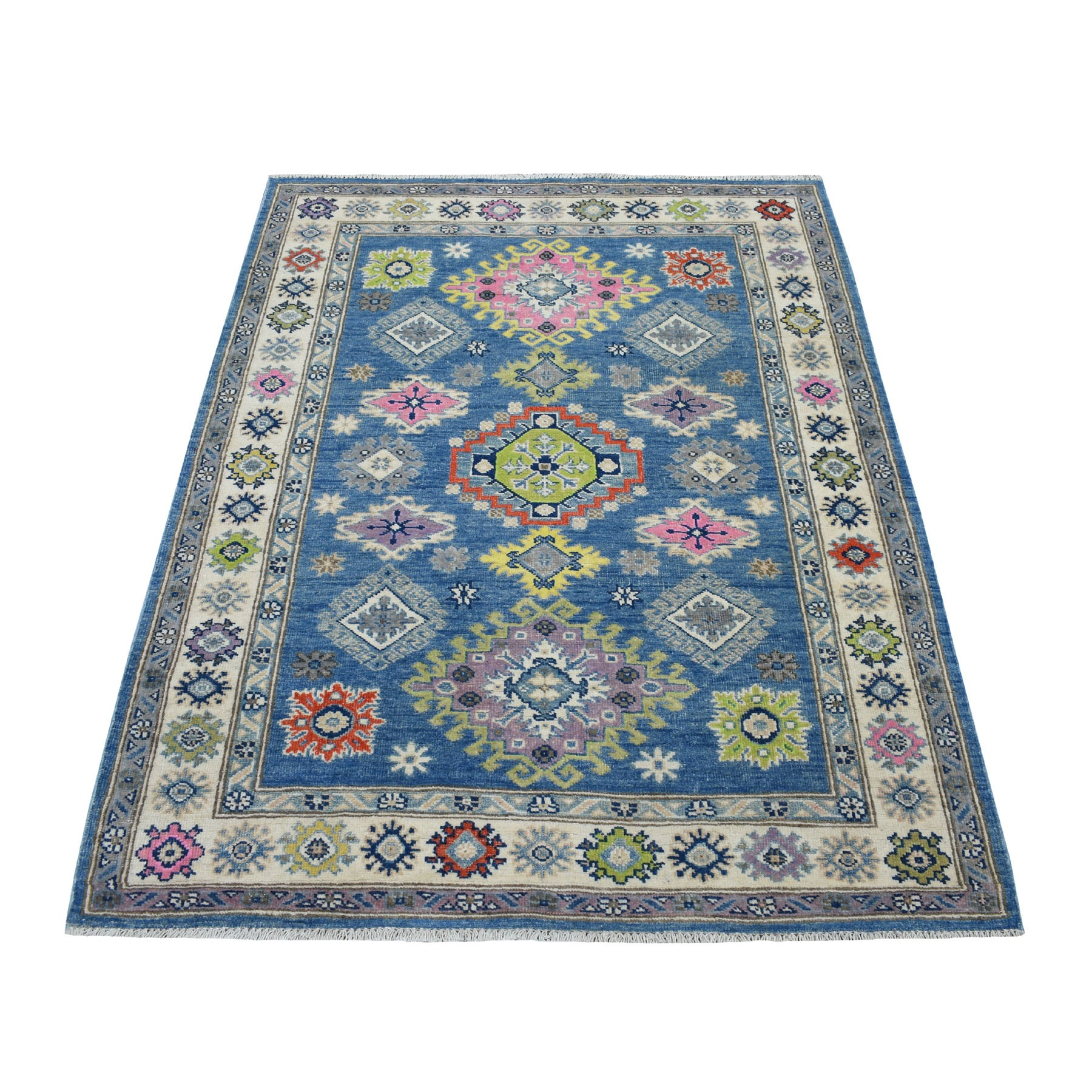 "4'X5'4"" Colorful Blue Fusion Kazak Pure Wool Hand Knotted Oriental Rug moaecec0"