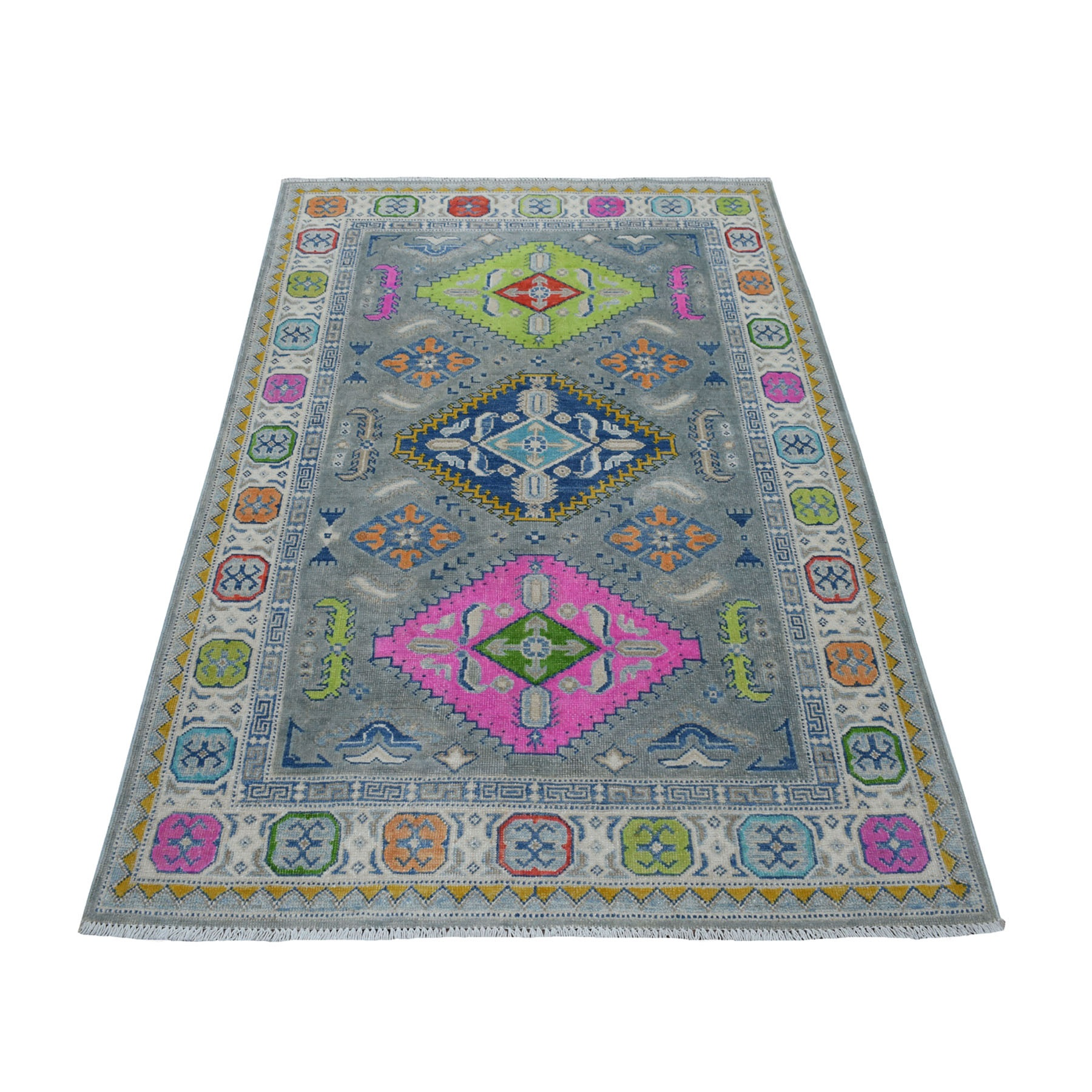 "3'10""X5'10"" Colorful Gray Fusion Kazak Pure Wool Geometric Design Hand Knotted Oriental Rug moaececb"