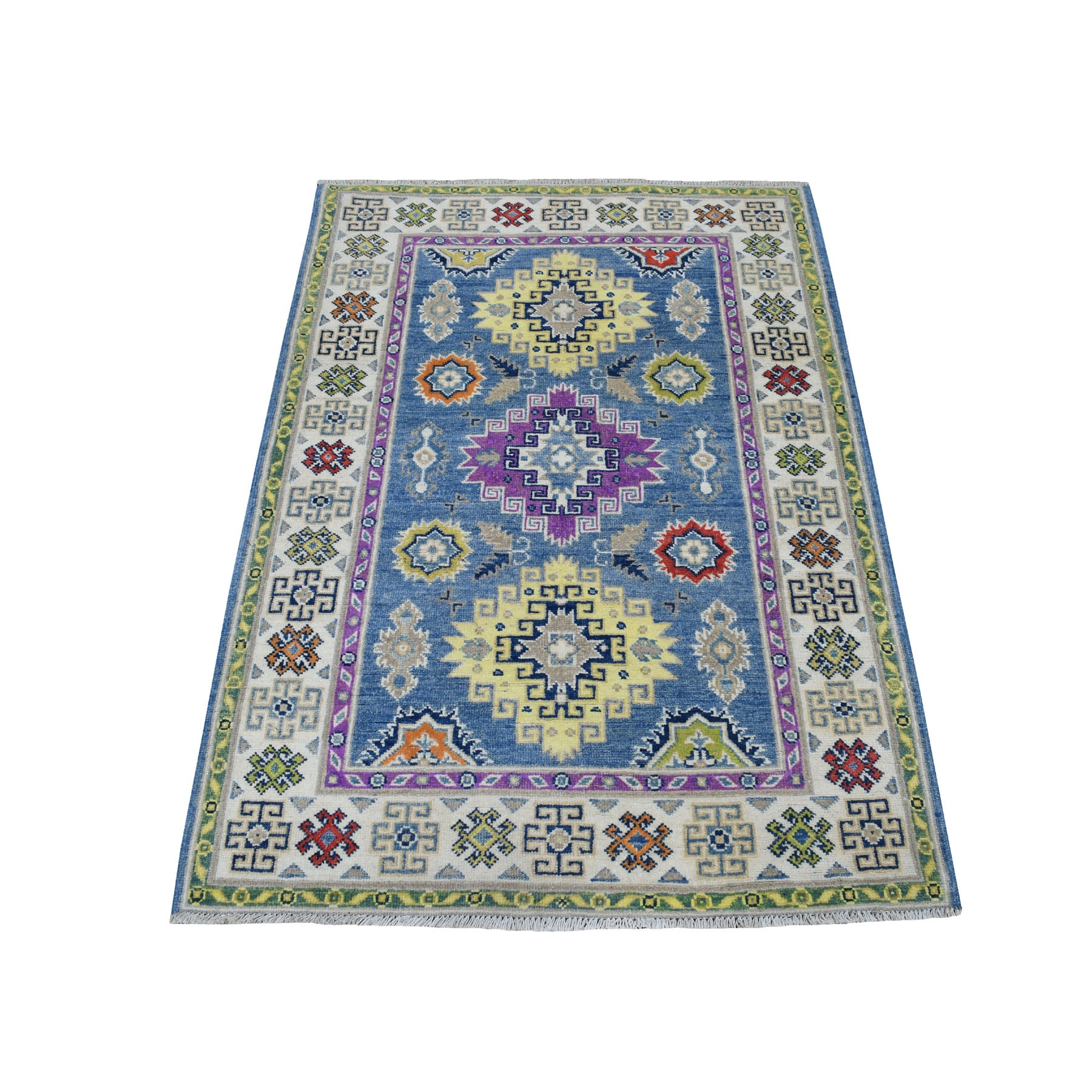 """3'5""""X4'8"""" Colorful Blue Fusion Kazak Pure Wool Hand Knotted Oriental Rug moaececc"""