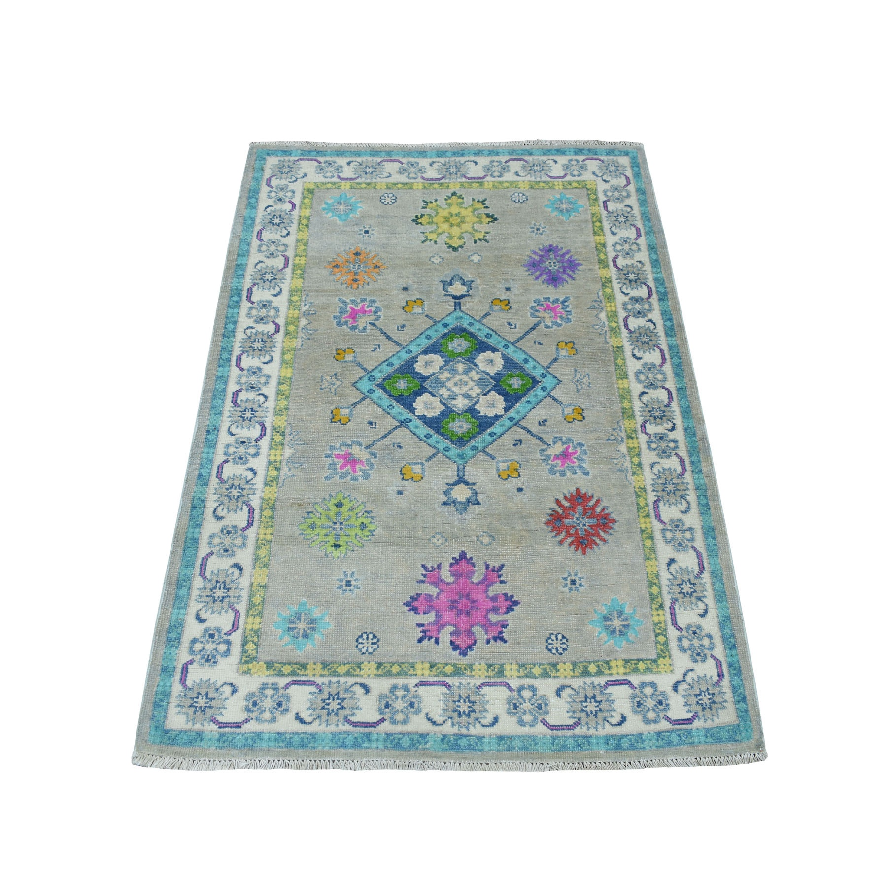 "3'1""X4'8"" Colorful Gray Fusion Kazak Pure Wool Geometric Design Hand Knotted Oriental Rug moaececd"