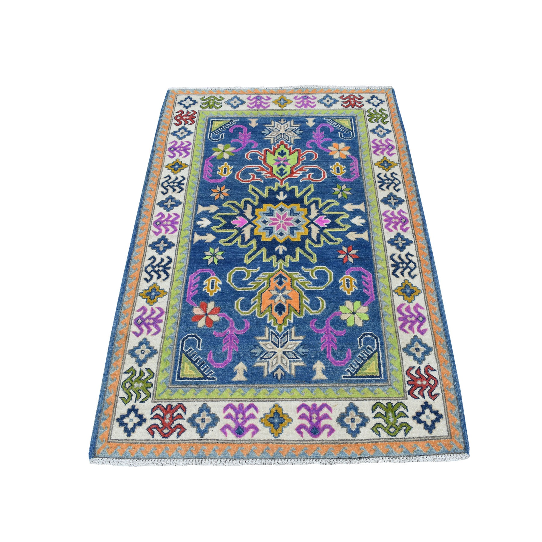 "3'4""X5' Colorful Blue Fusion Kazak Pure Wool Hand Knotted Oriental Rug moaecece"