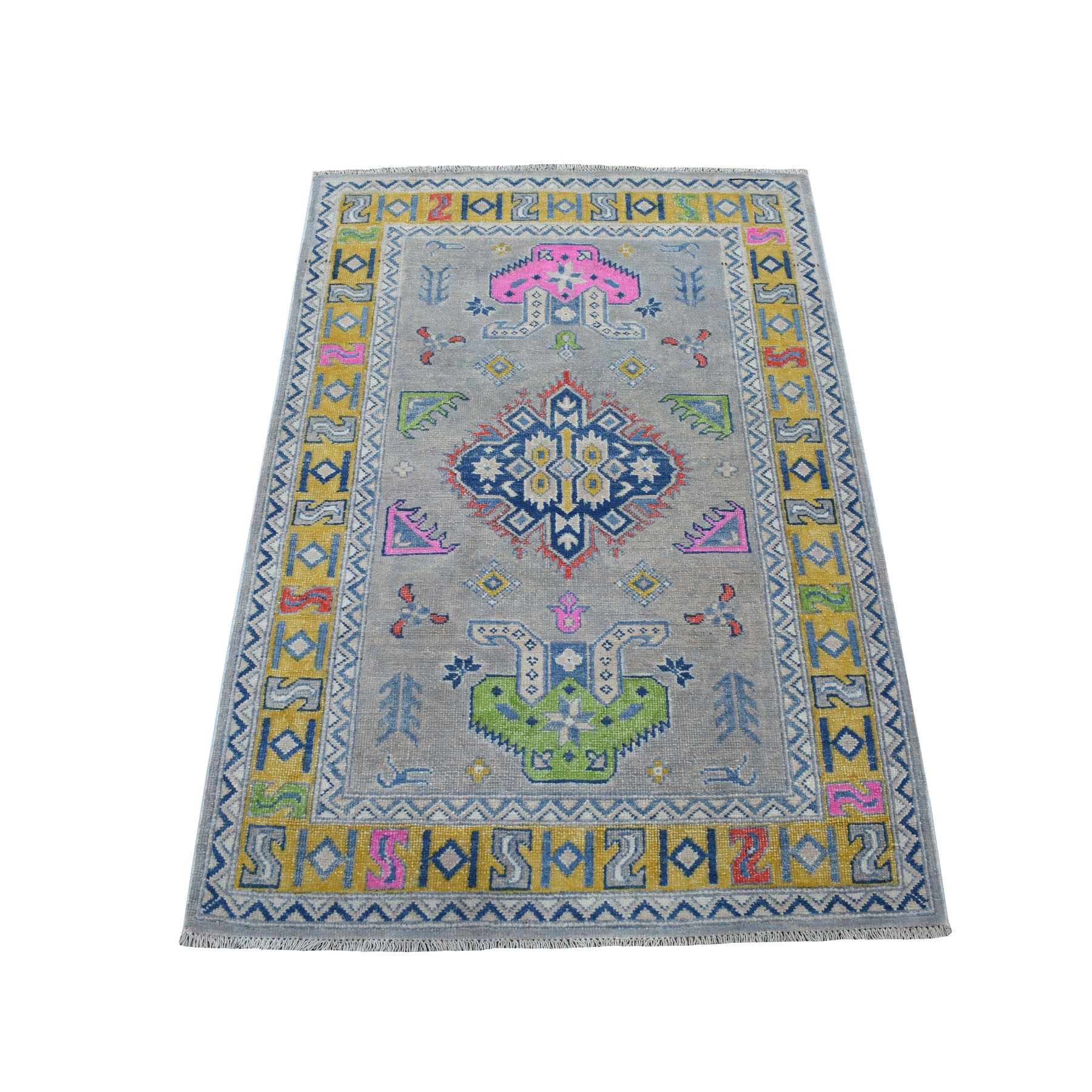 """3'1""""X4'8"""" Colorful Gray Fusion Kazak Pure Wool Geometric Design Hand Knotted Oriental Rug moaecec6"""