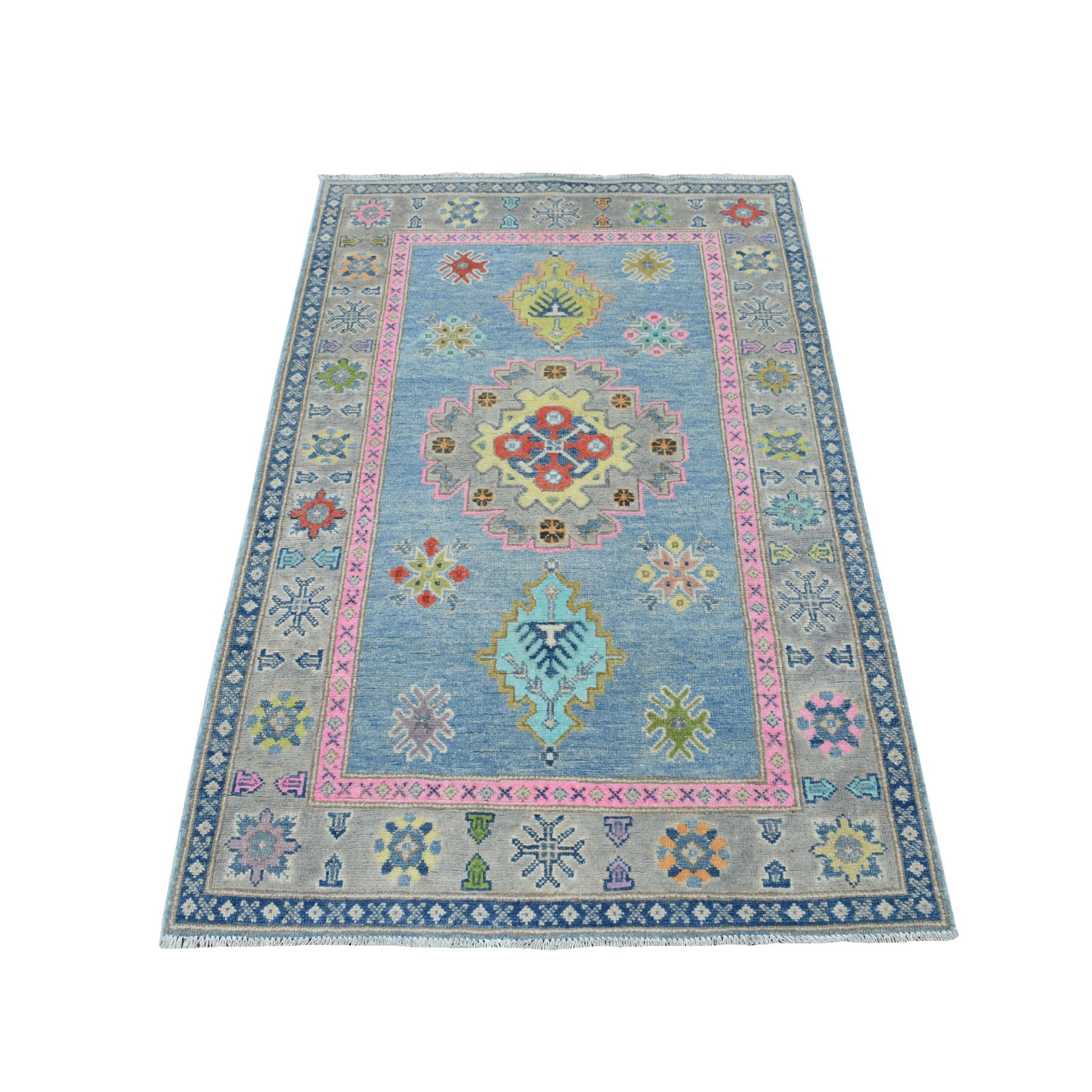 """3'2""""X4'10"""" Colorful Blue Fusion Kazak Pure Wool Hand Knotted Oriental Rug moaecec7"""