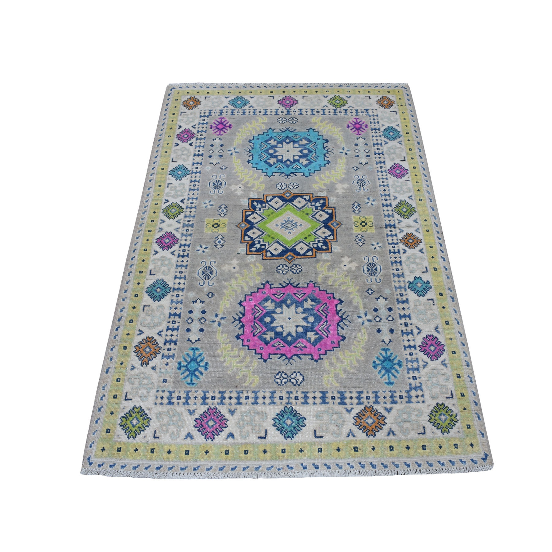 "3'3""X5' Colorful Gray Fusion Kazak Pure Wool Geometric Design Hand Knotted Oriental Rug moaecec8"