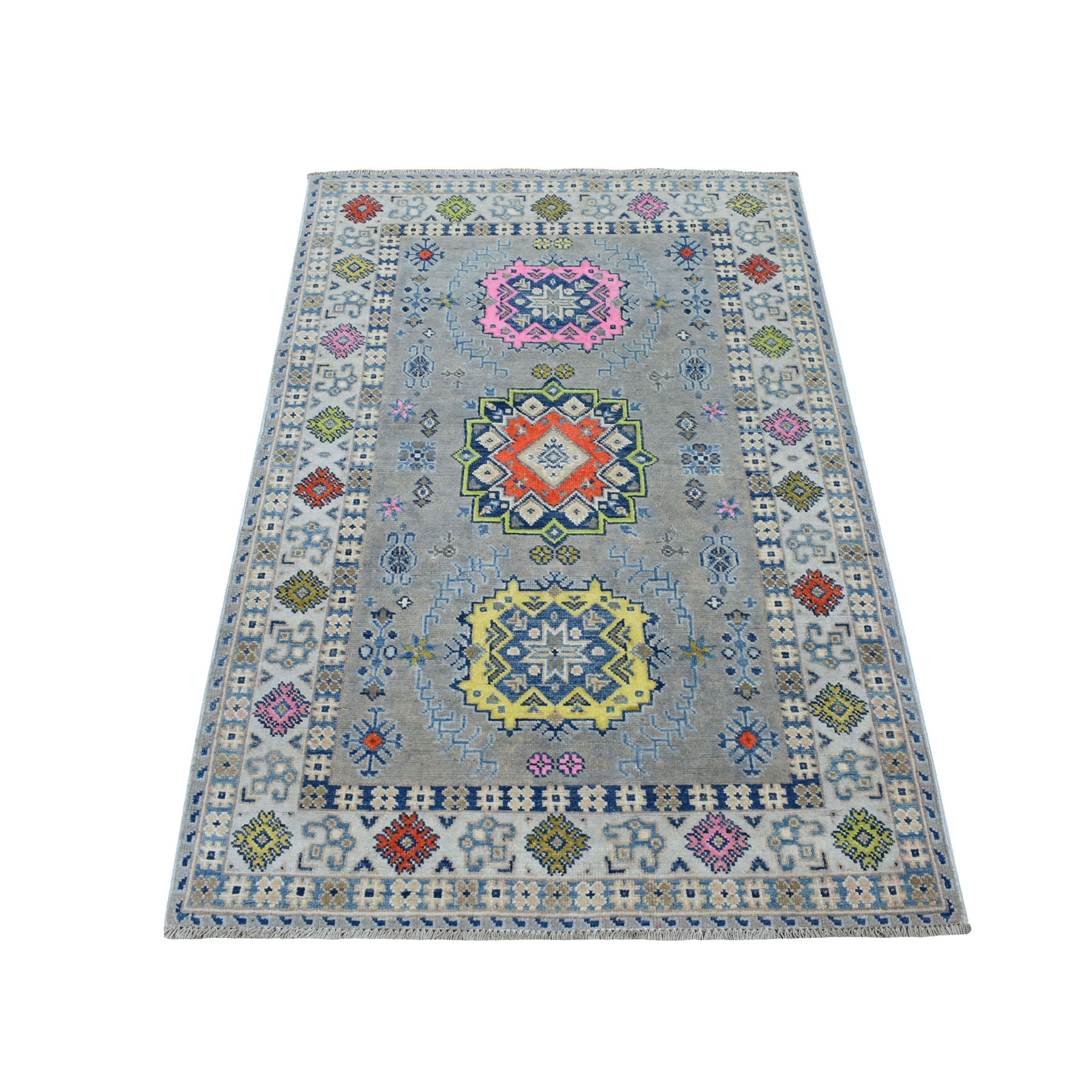 "3'3""X5' Colorful Gray Fusion Kazak Pure Wool Geometric Design Hand Knotted Oriental Rug moaeced0"
