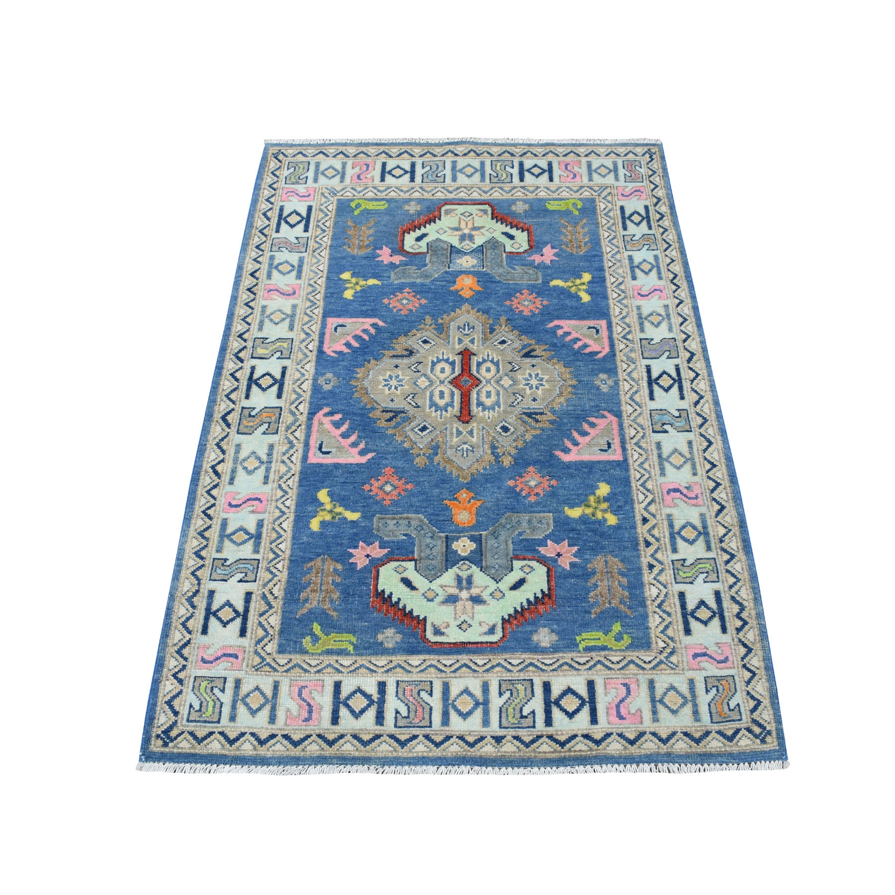"3'2""X4'9"" Colorful Blue Fusion Kazak Pure Wool Geometric Design Hand Knotted Oriental Rug moaecedb"
