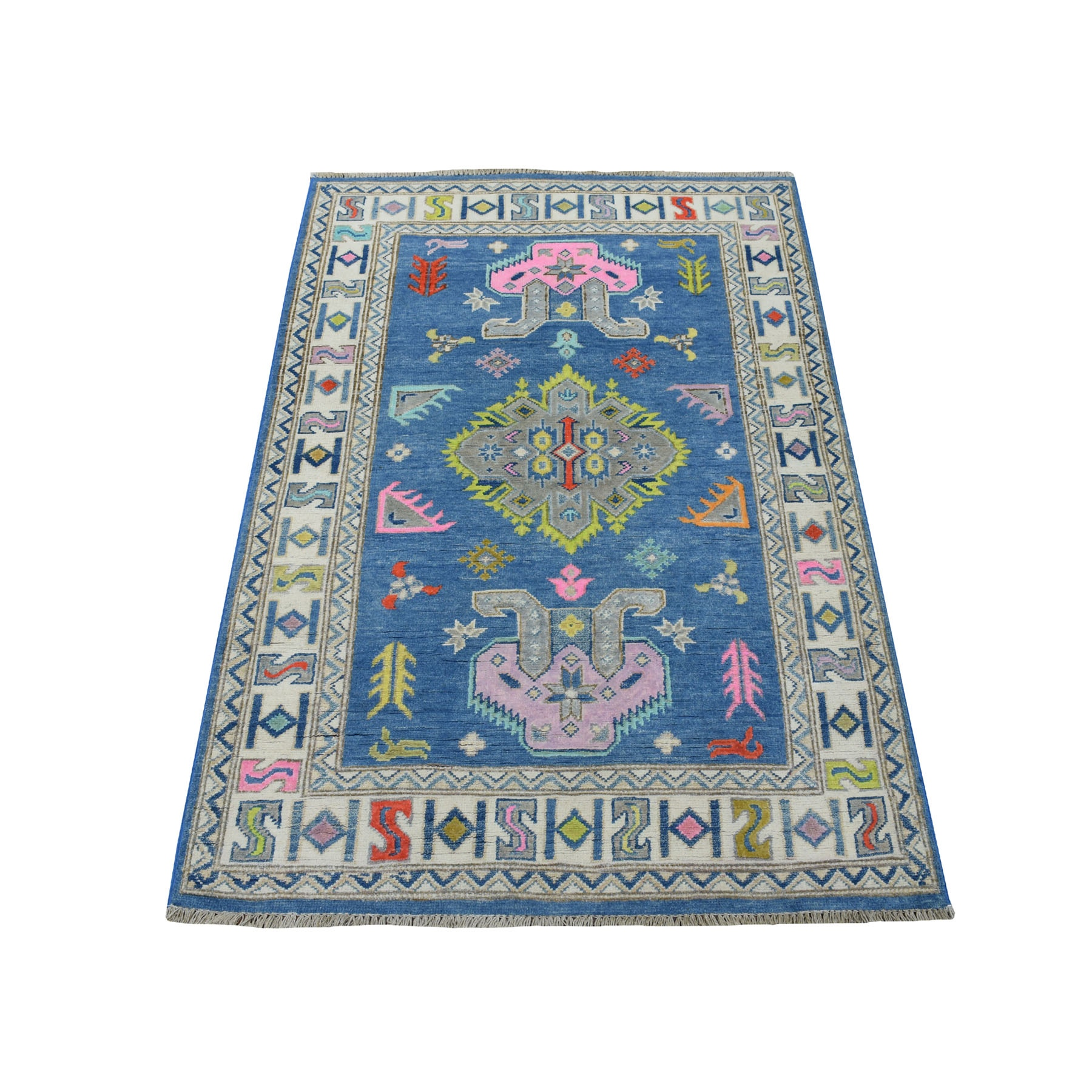 """3'1""""X4'7"""" Colorful Blue Fusion Kazak Pure Wool Hand Knotted Oriental Rug moaecedd"""